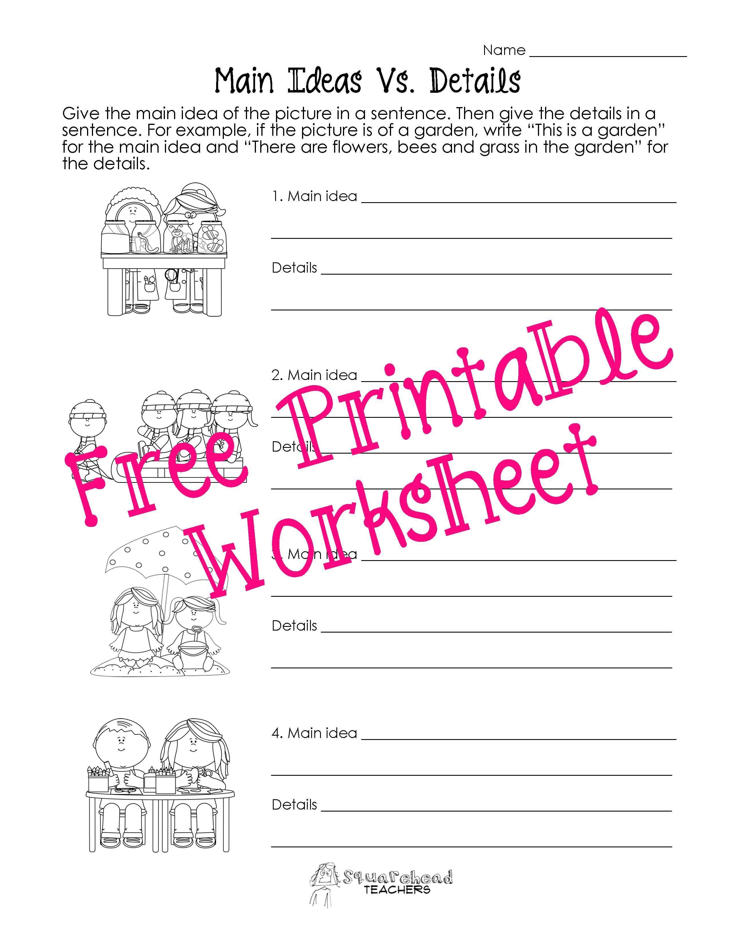 squarehead teachers: main idea vs. details worksheets. genius