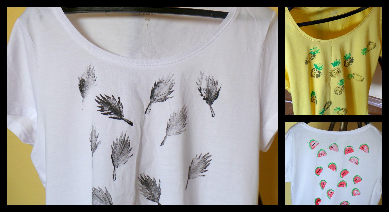 10 Gorgeous Diy T Shirt Design Ideas stamped t shirts diy using potatoes cool summer clothing idea 2020