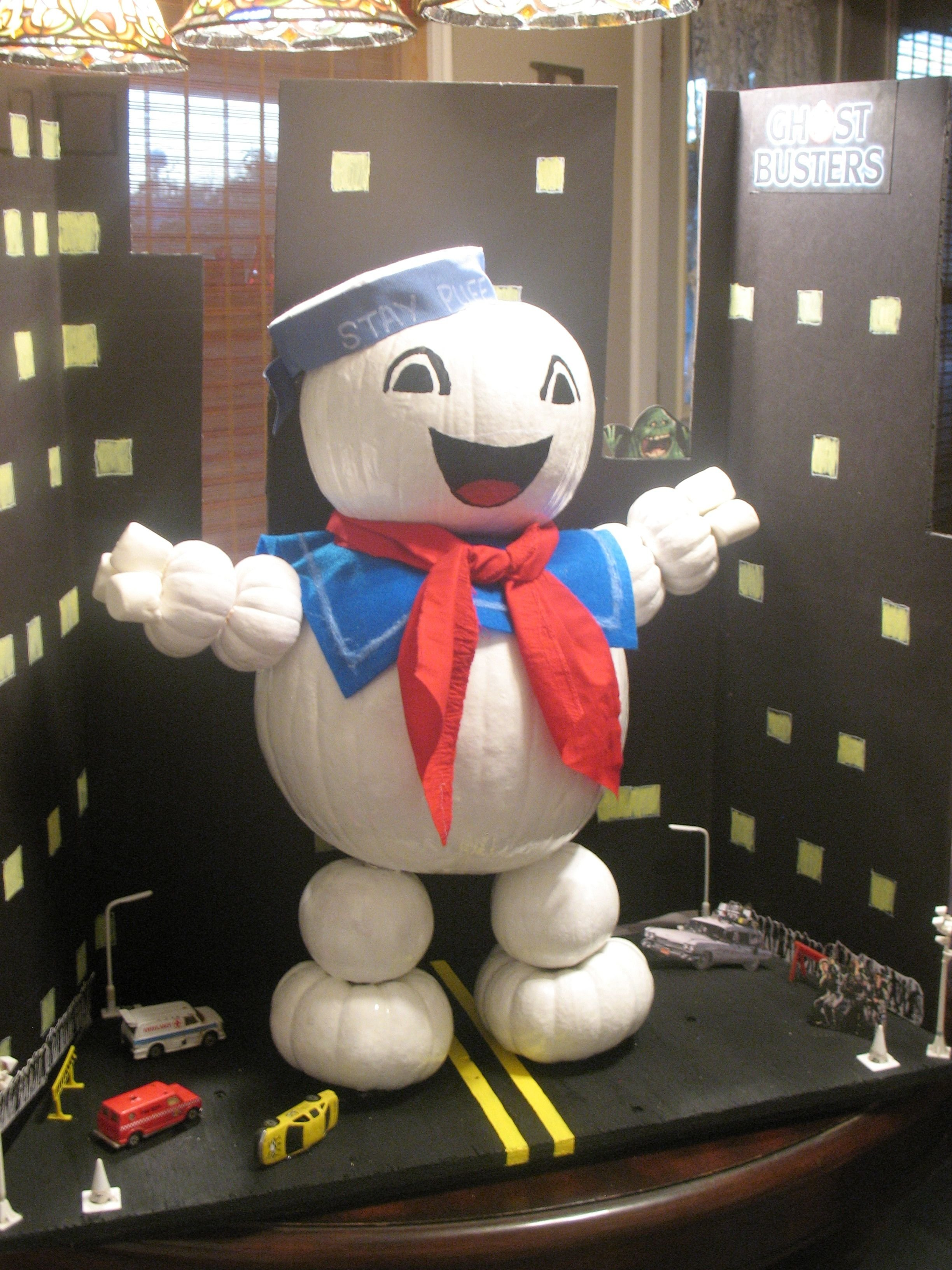 10 Fashionable Creative Pumpkin Ideas No Carving stay puff marshmallow man made from pumpkins son made this for his 2020