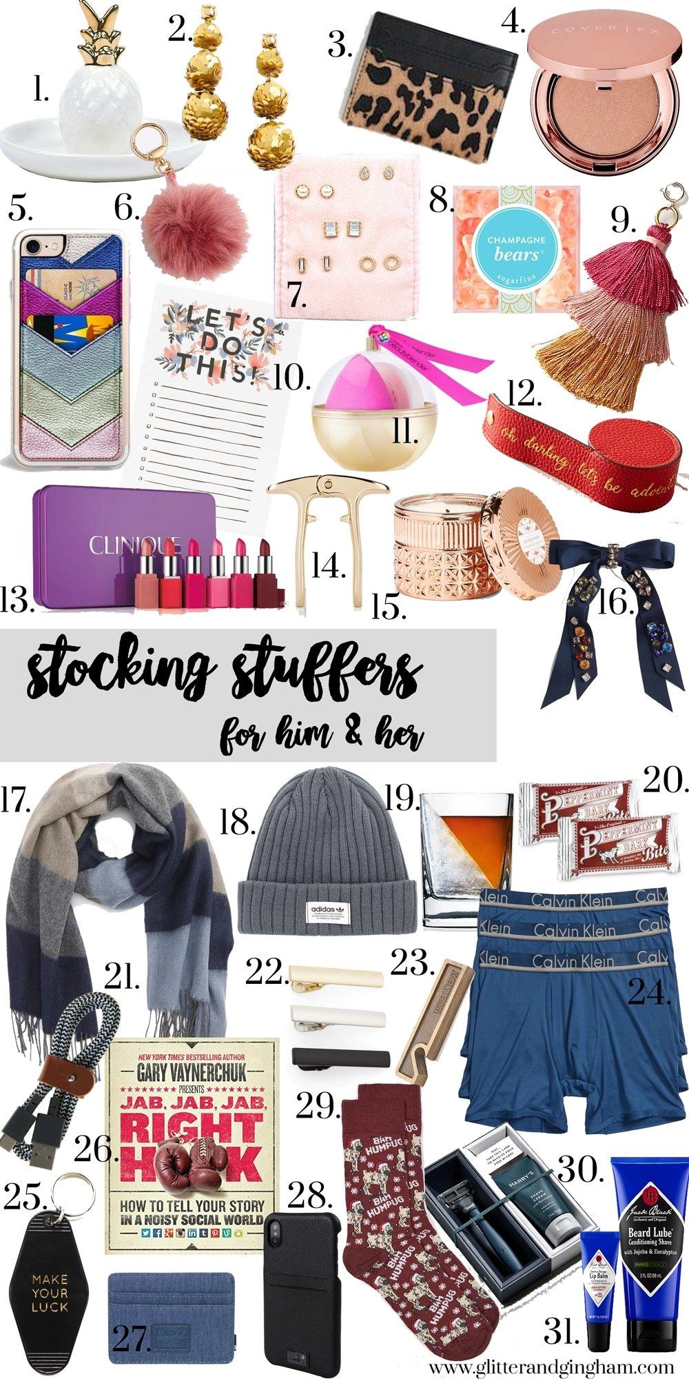 10 Cute Stocking Stuffer Ideas For Men stocking stuffer gift ideas for him her glitter gingham 2020