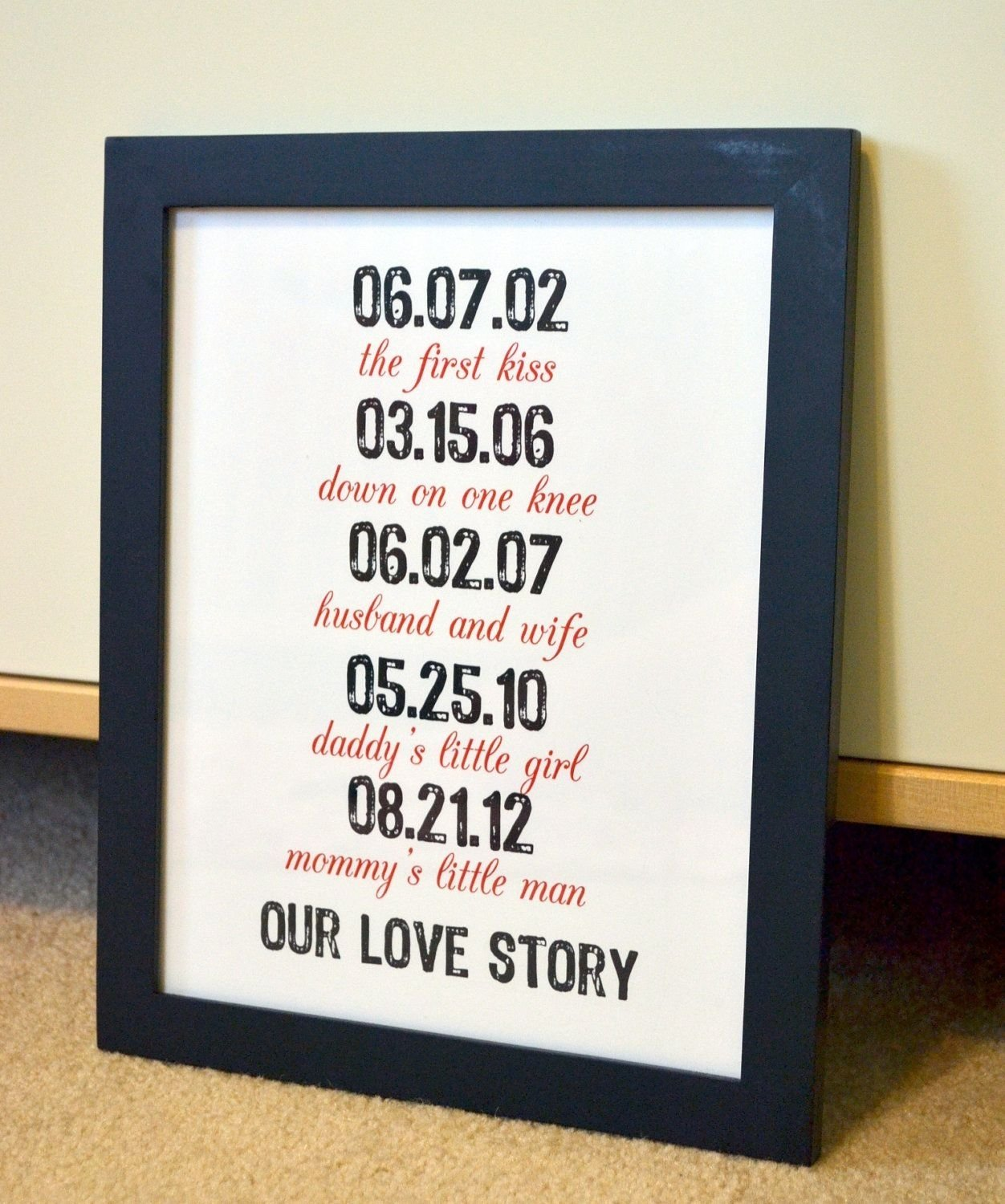 storydates 11x14 gift for wife anniversary gift for husband