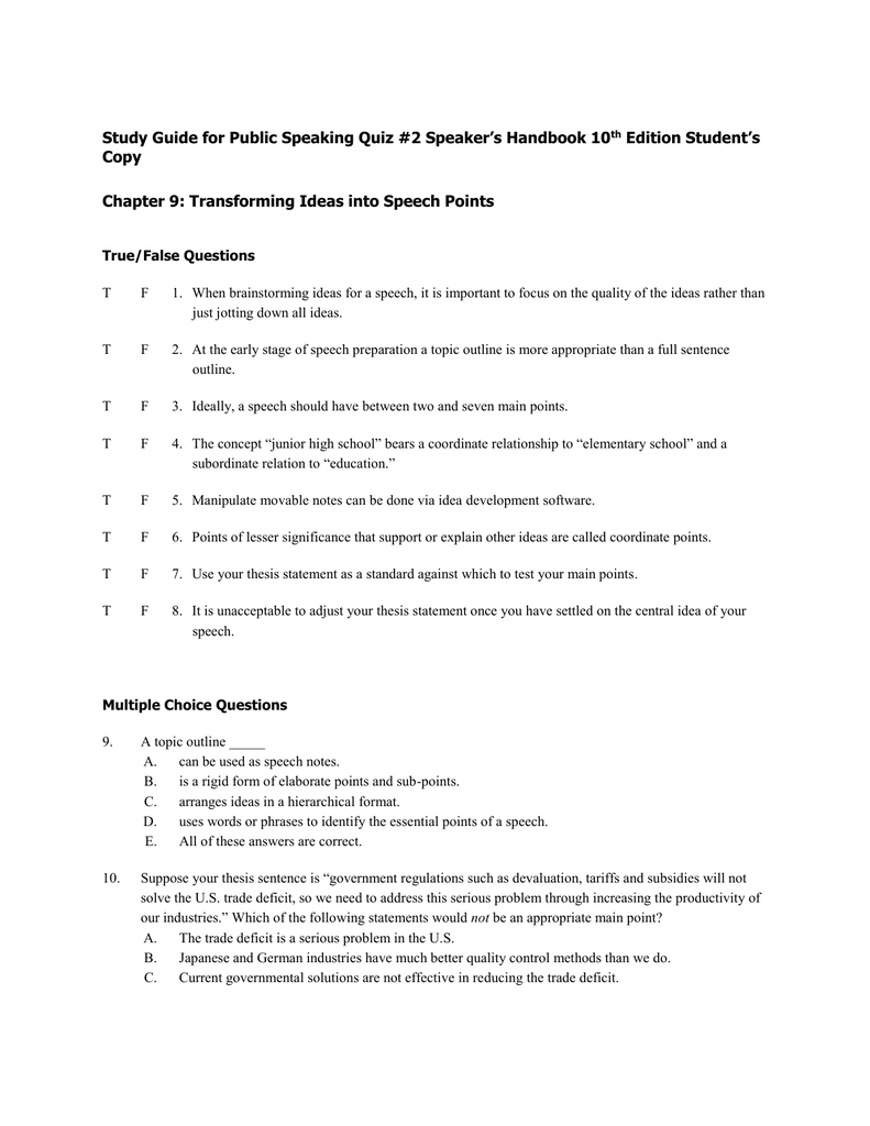 study guide for public speaking quiz #2 speaker's handbook 10th