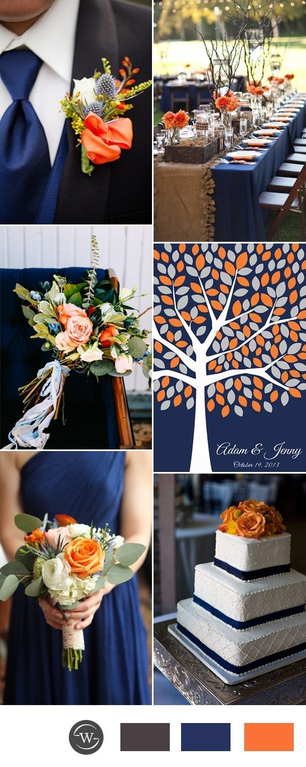 10 Gorgeous Blue And Orange Wedding Ideas stunning navy blue wedding color combo ideas for 2017 trends 2021