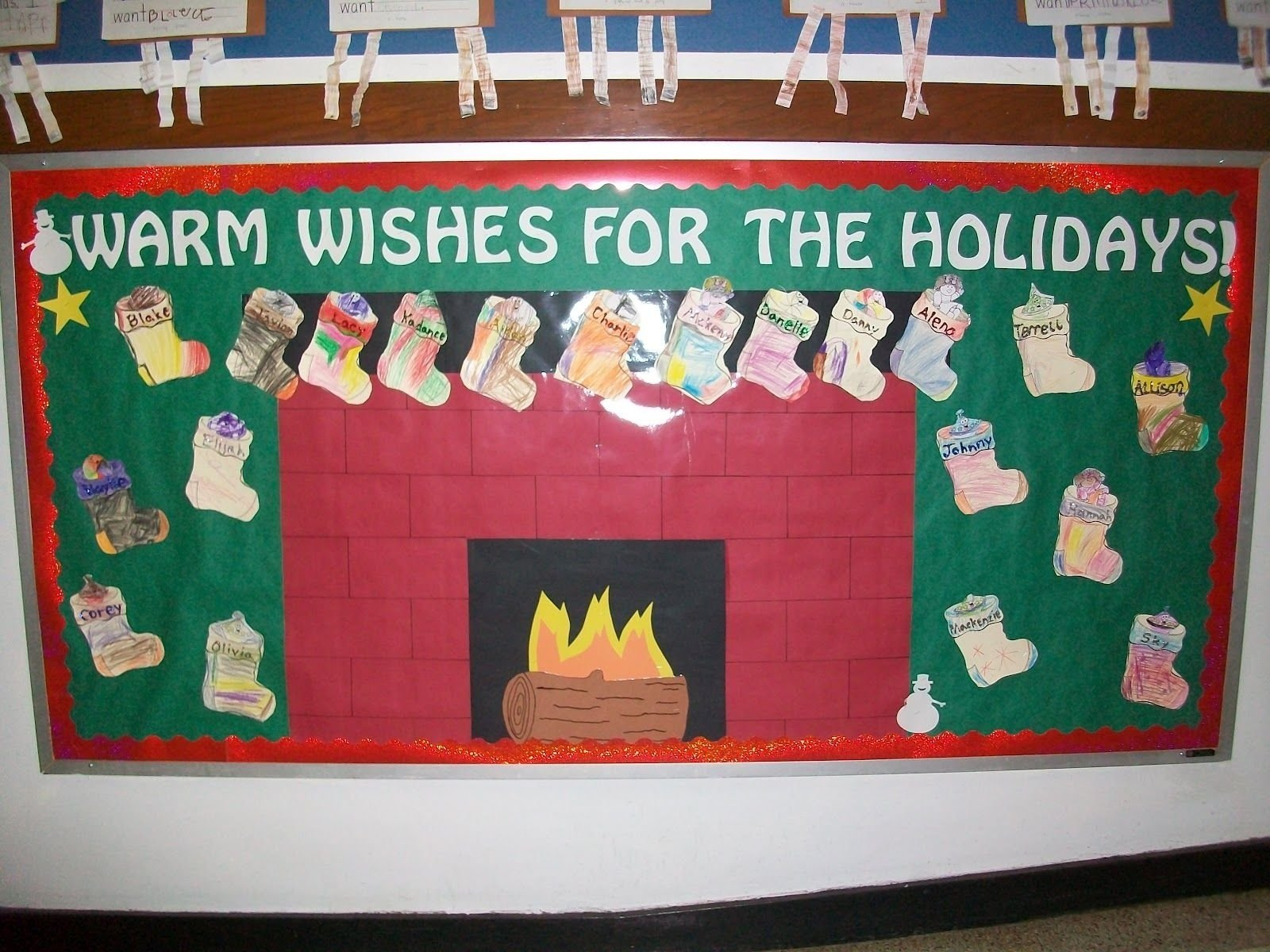 such a cute idea for a bulletin board during the holidays. the