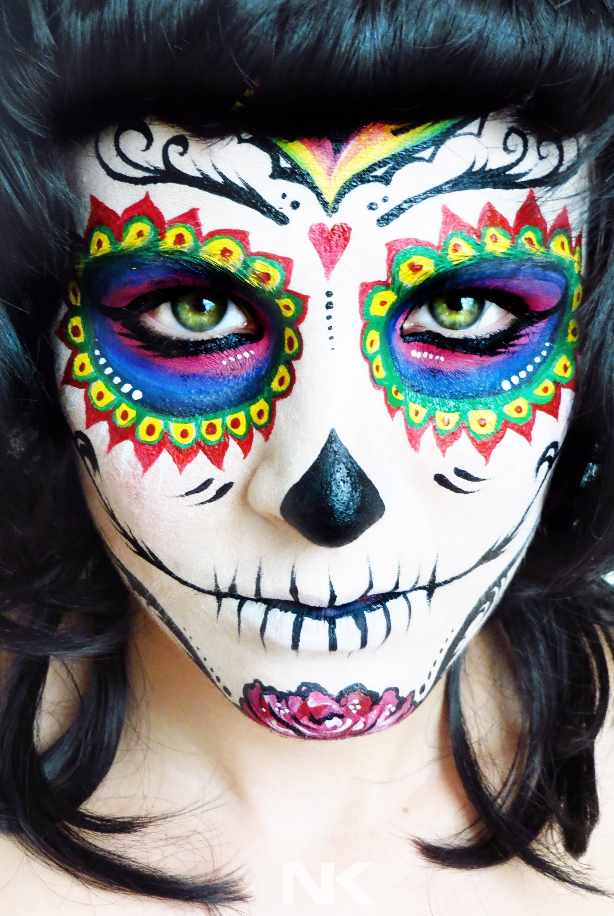 sugar skull face paint tutorial. day of the dead. nk - youtube