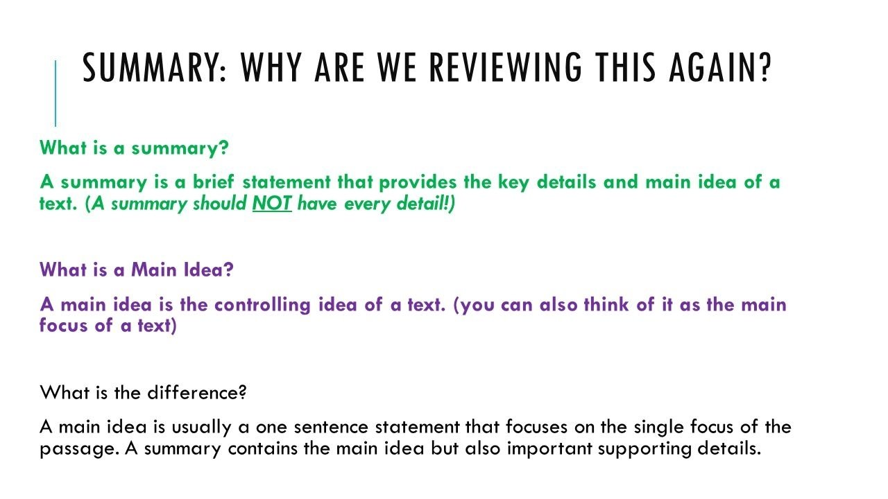 10 Pretty What Is A Main Idea summaries what is the main idea summary why are we reviewing this 1 2020