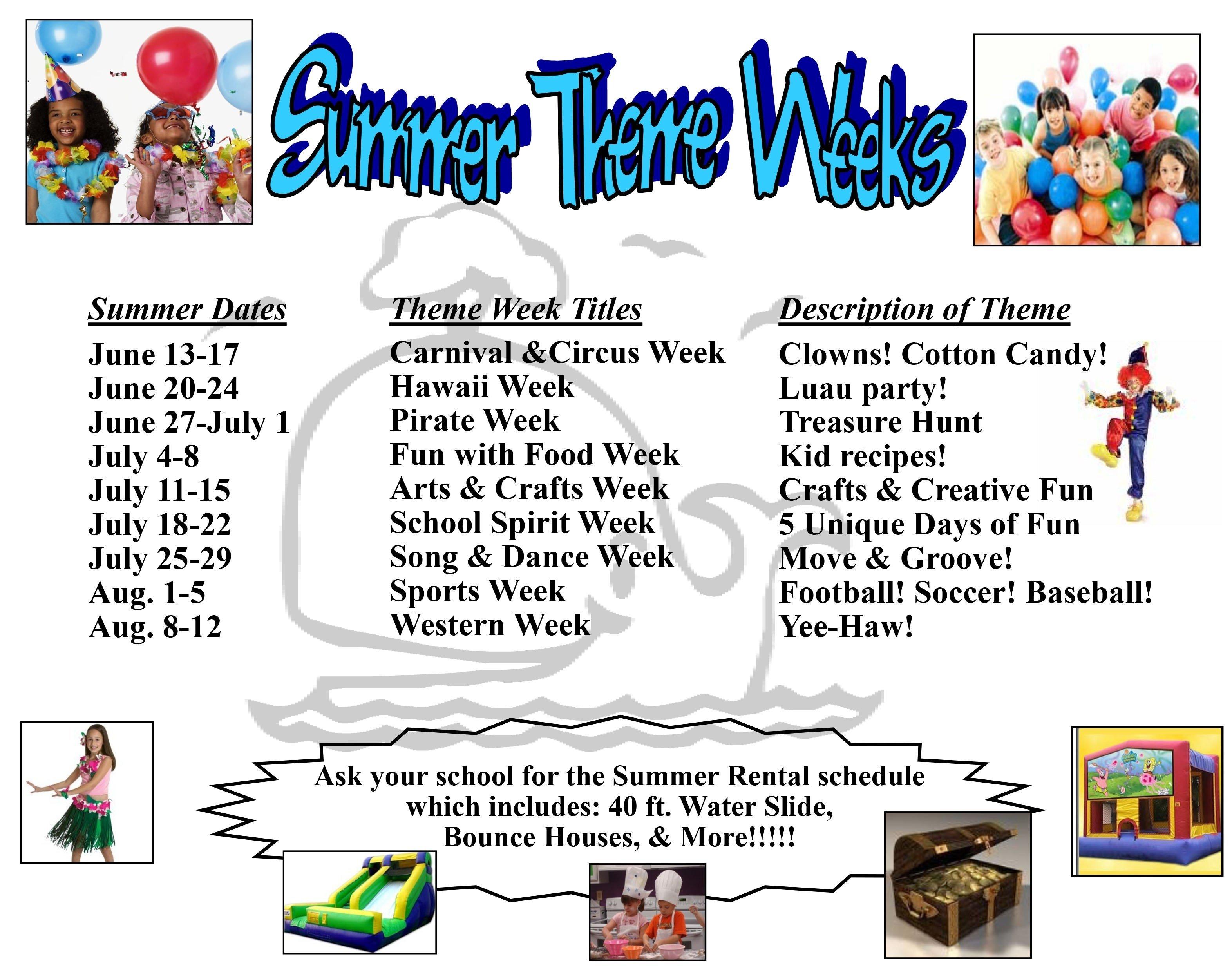 10 Great Summer Camp Theme Week Ideas summer 2016 theme week schedule official grace community school blog 2020