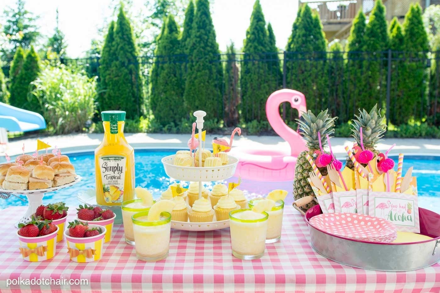 10 Great Ideas For A Pool Party summer backyard flamingo pool party ideas the polka dot chair 2020