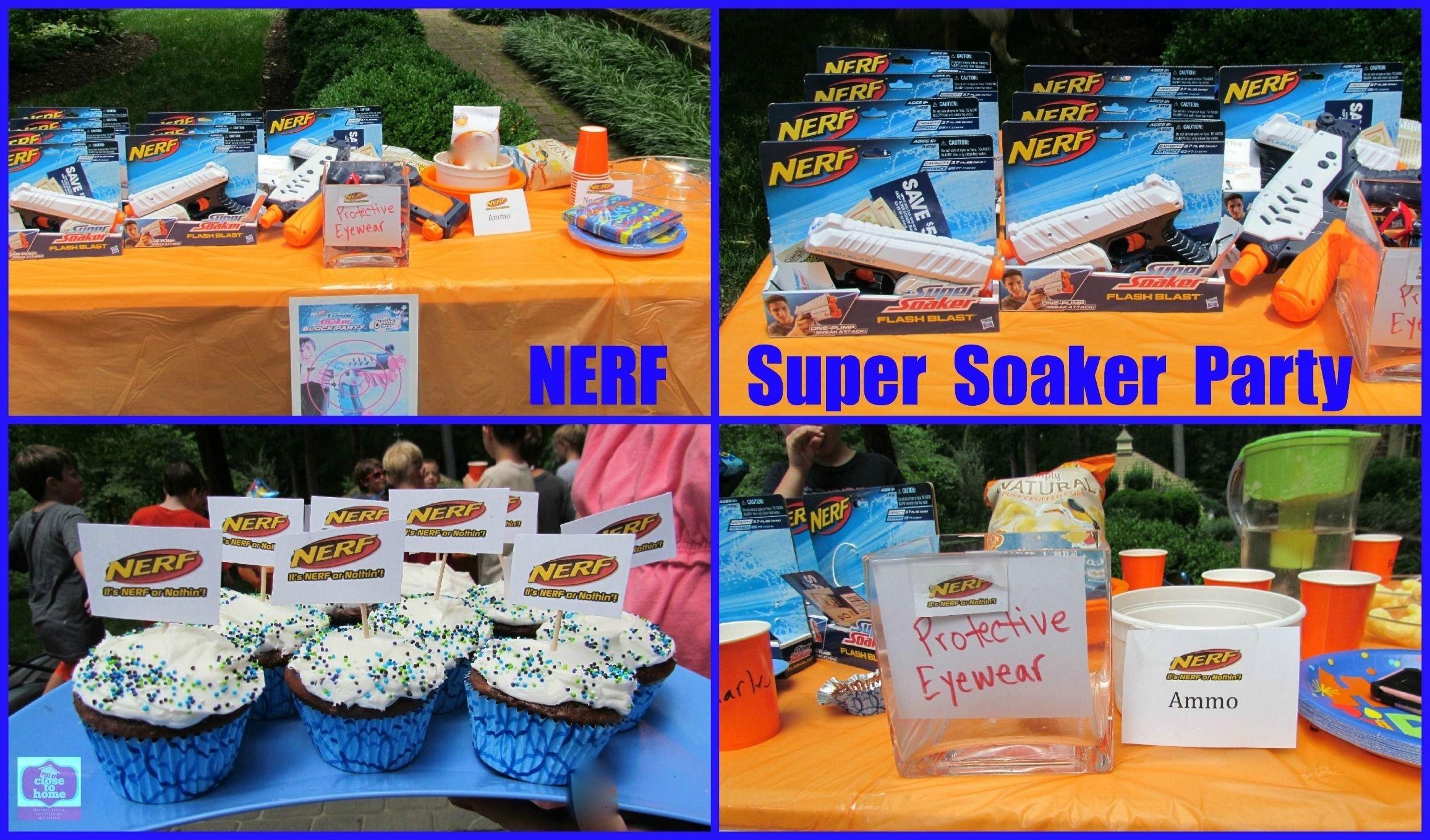 summer birthday party ideas- nerf super soaker | boy birthday