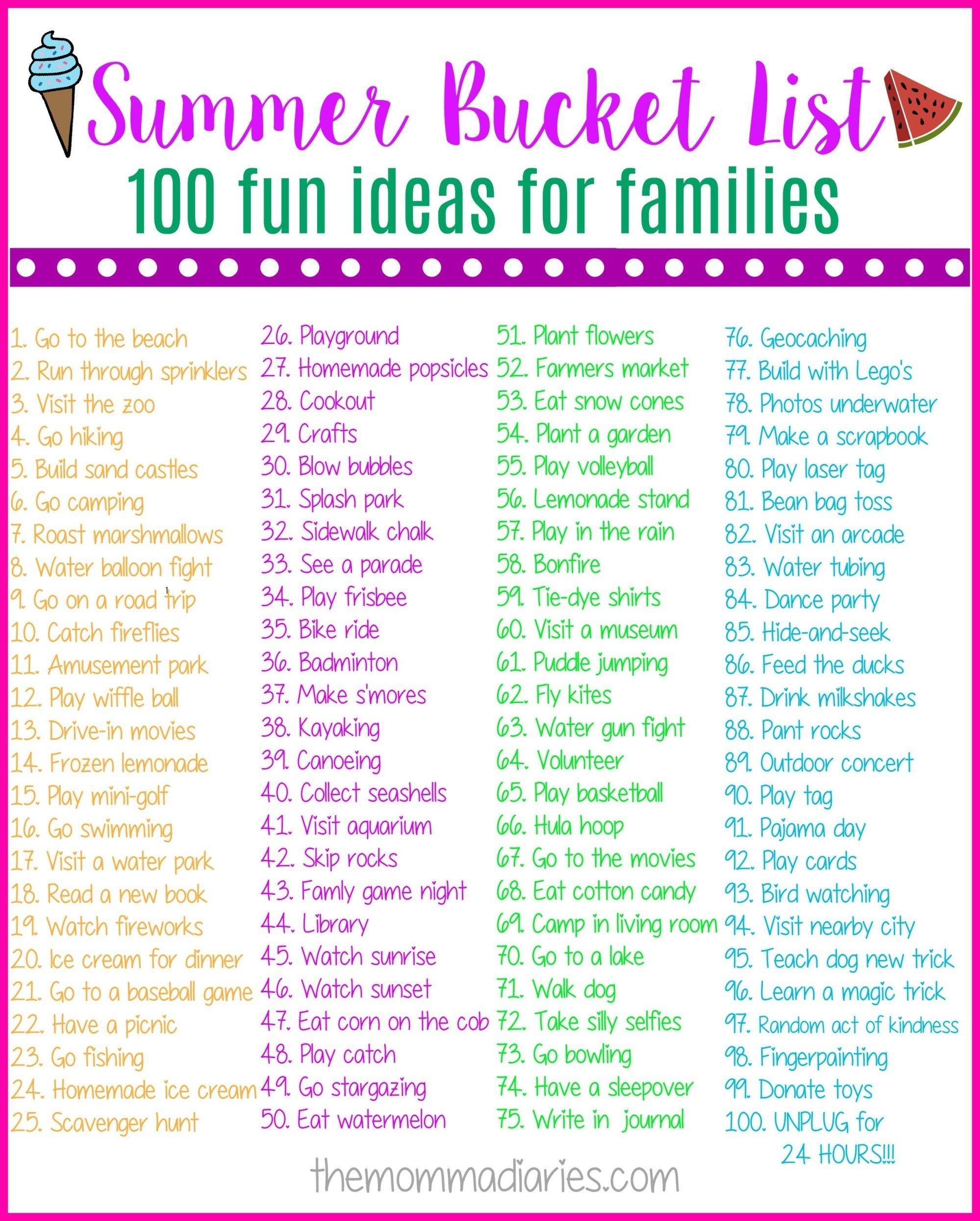 10 Attractive Fun Summer Bucket List Ideas summer bucket list 100 fun ideas for families activites enfants 2020