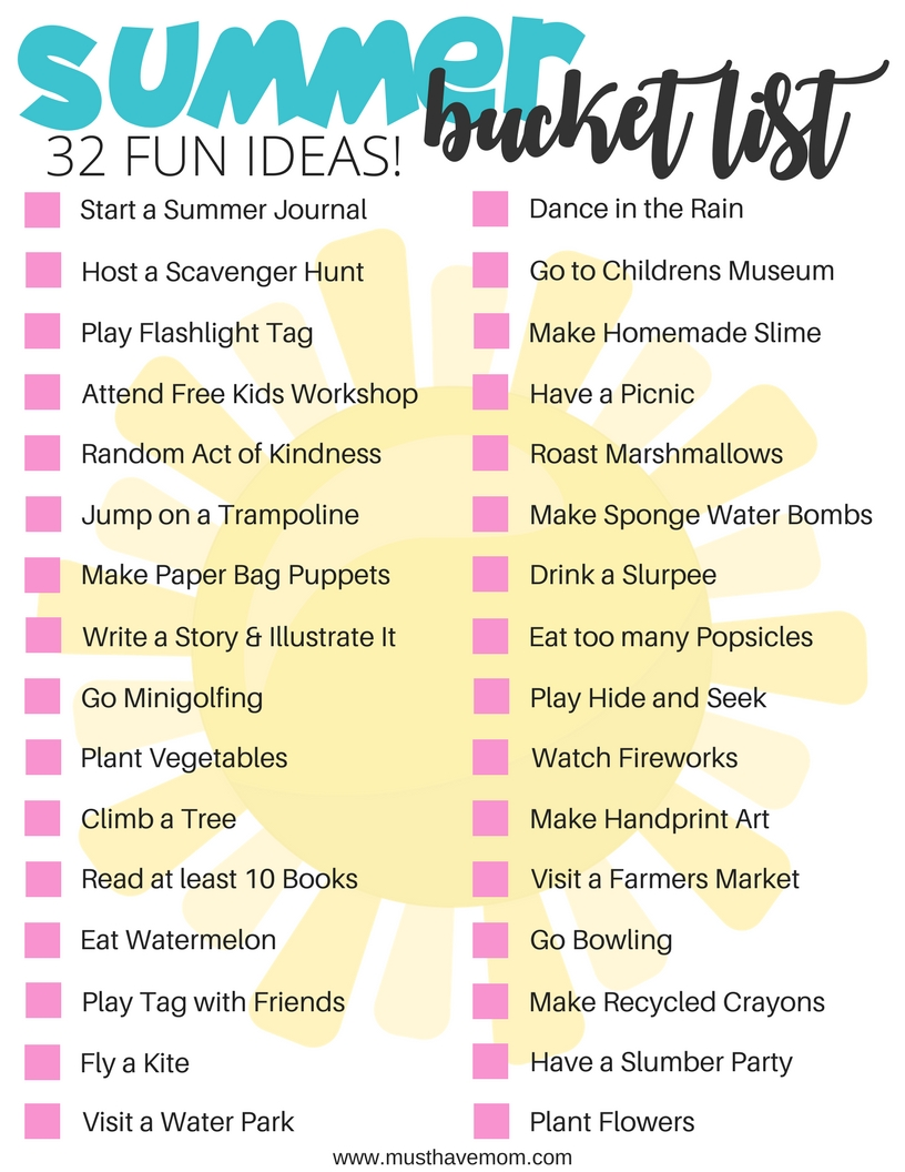 10 Amazing Summer Bucket List Ideas For Couples summer bucket list for kids free printable summer bucket lists 2 2020