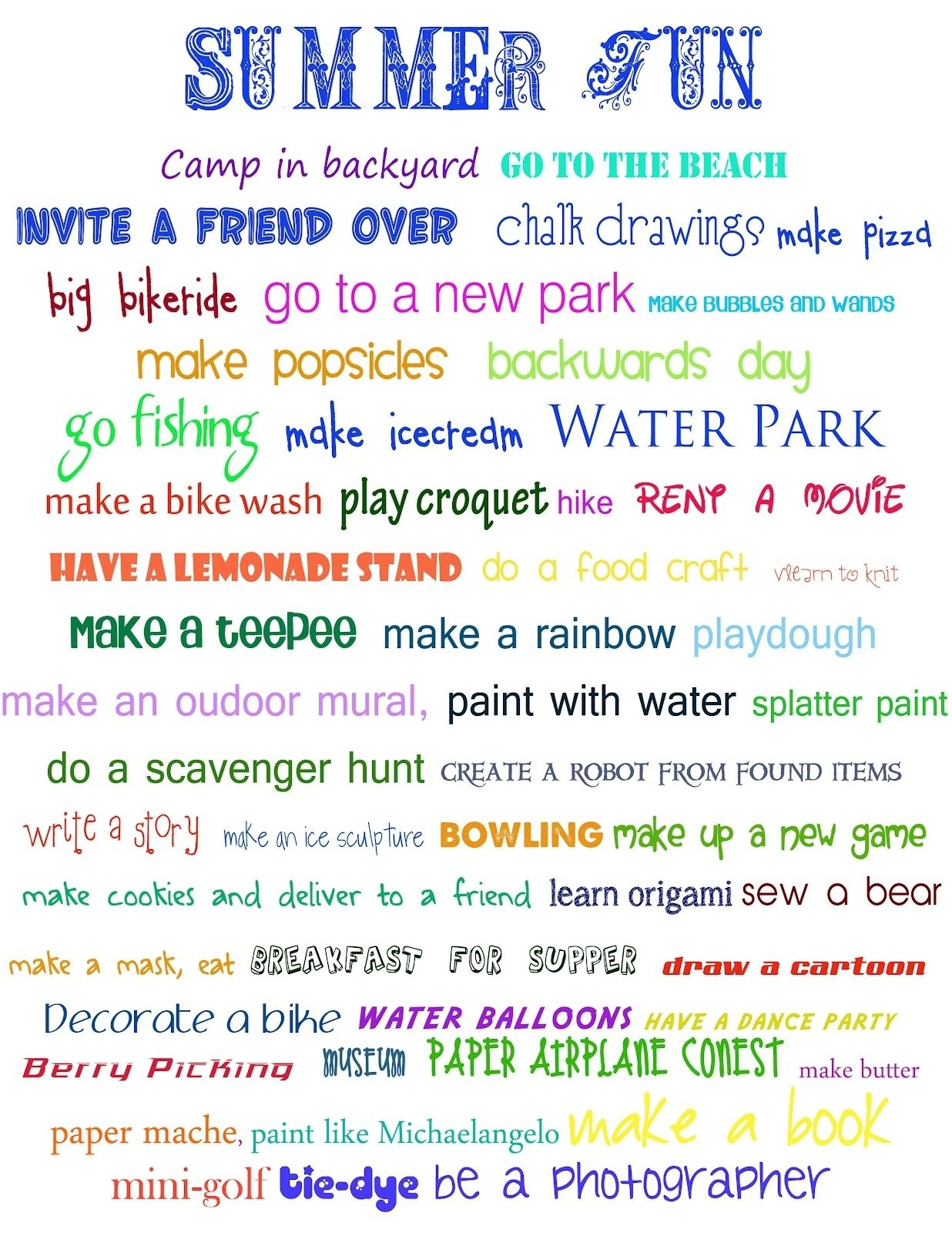 summer bucket list for kids | have also since found new sites that