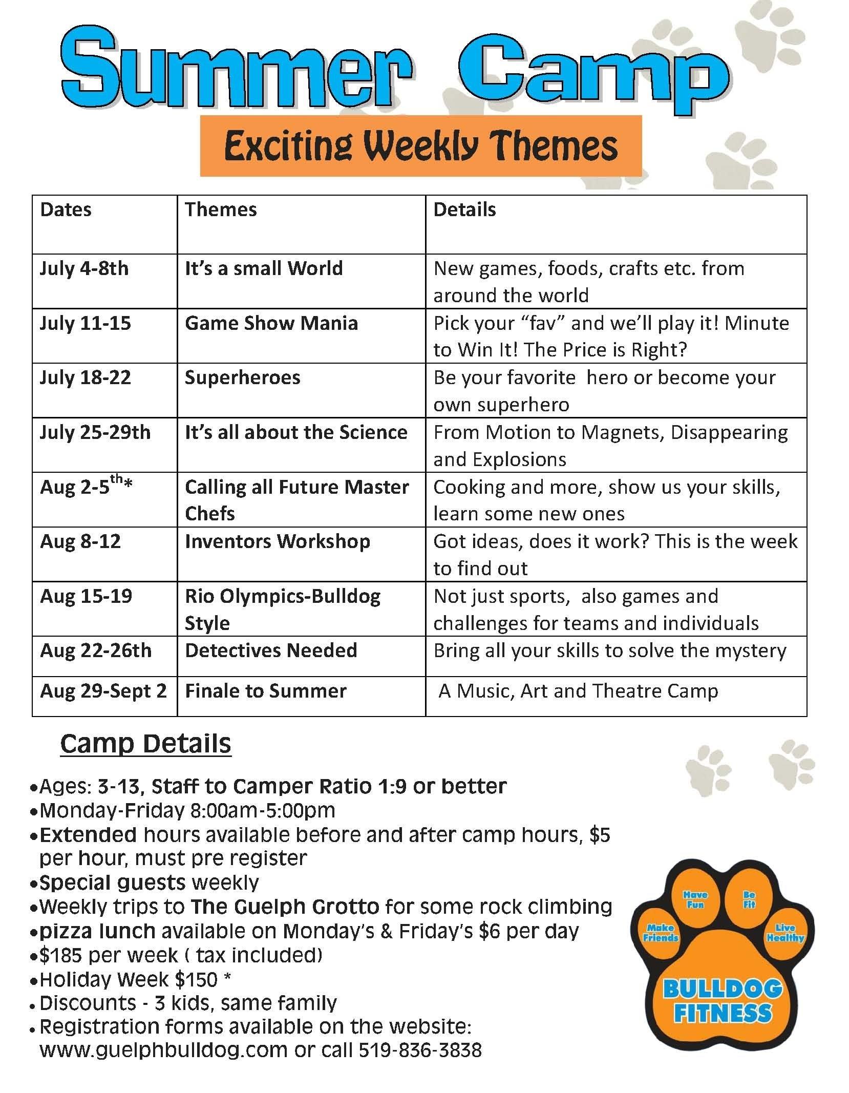 10 Best Summer Camp Weekly Theme Ideas summer camp 2016 guelph bulldog 1 2021