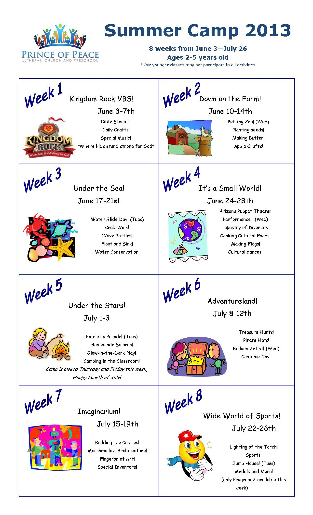 10 Most Popular Ideas For Summer Camp Themes summer camp calendar 2013 i love this idea to devote a week to 5