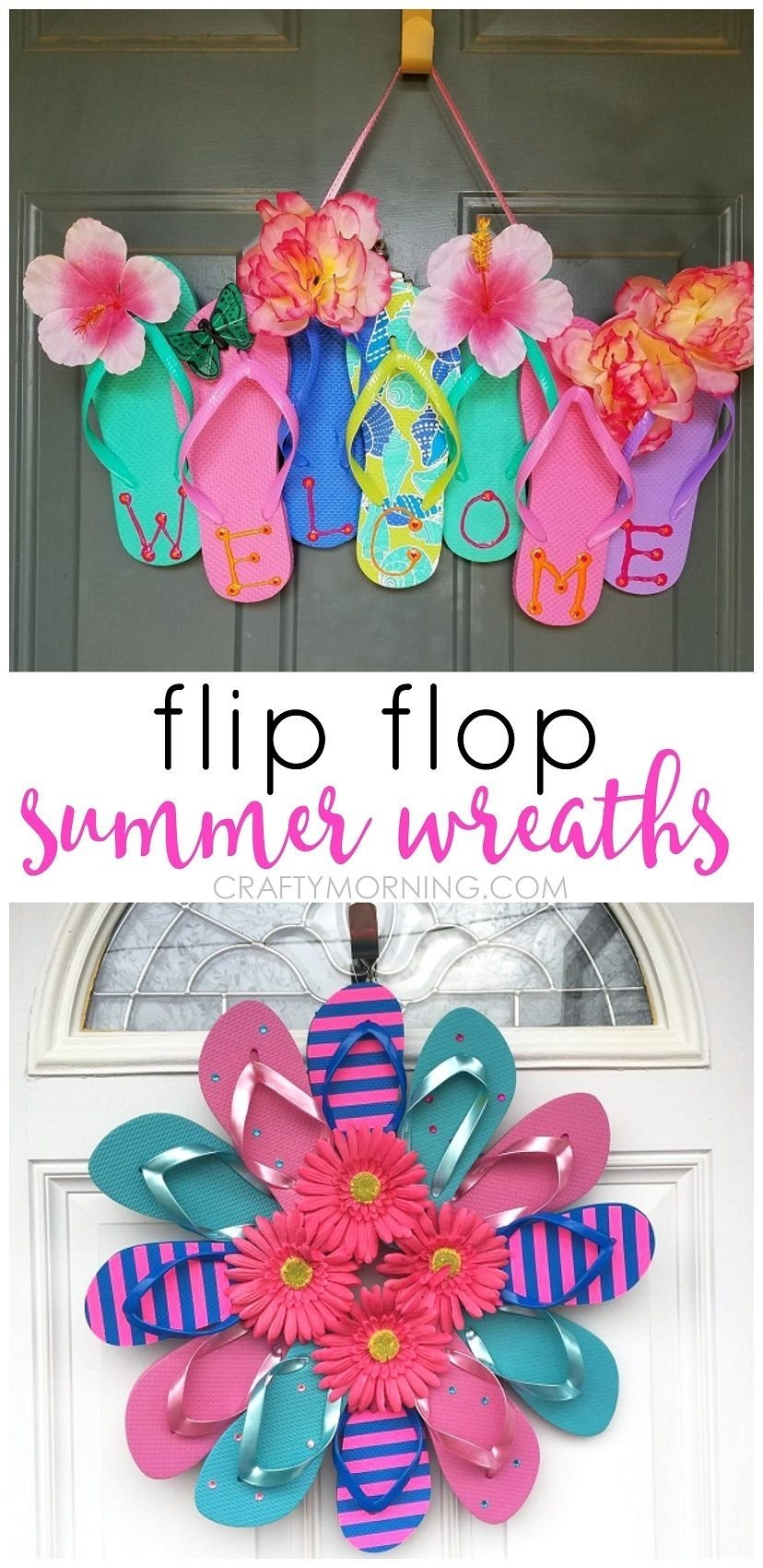 10 Ideal Cute Craft Ideas For Kids summer flip flop wreaths what a cute craft to hang on a door