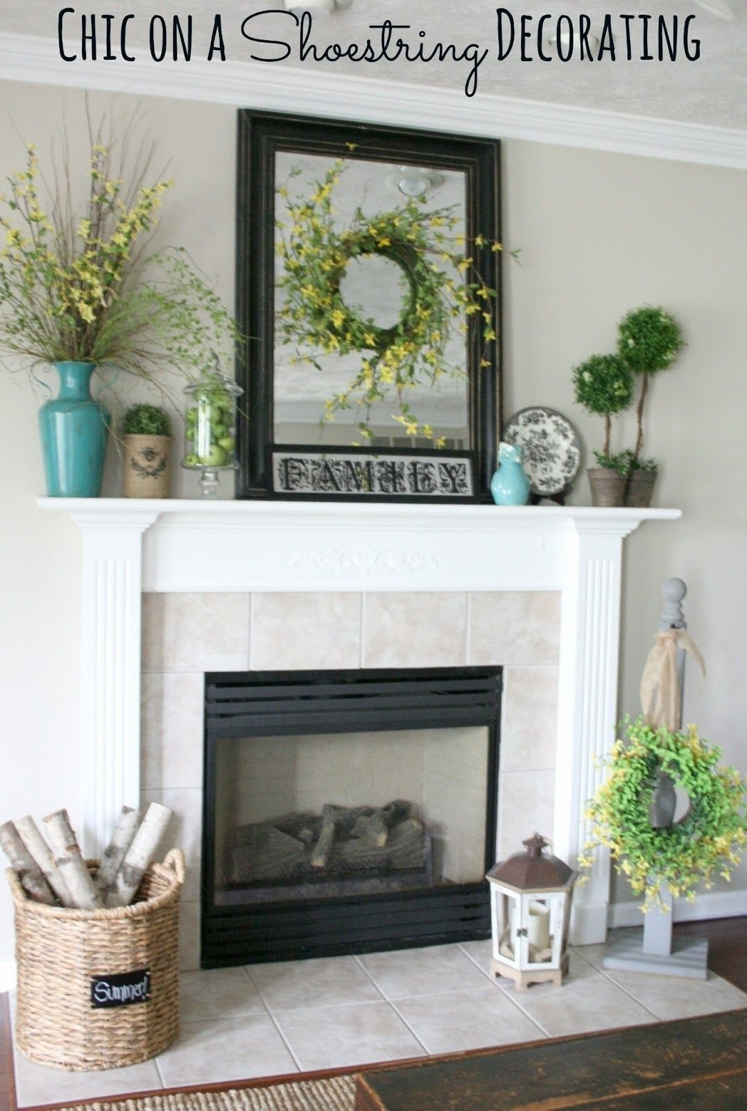 10 Unique Ideas For Fireplace Mantel Decor summer mantel turquoise yellow and greenchic on a shoestring