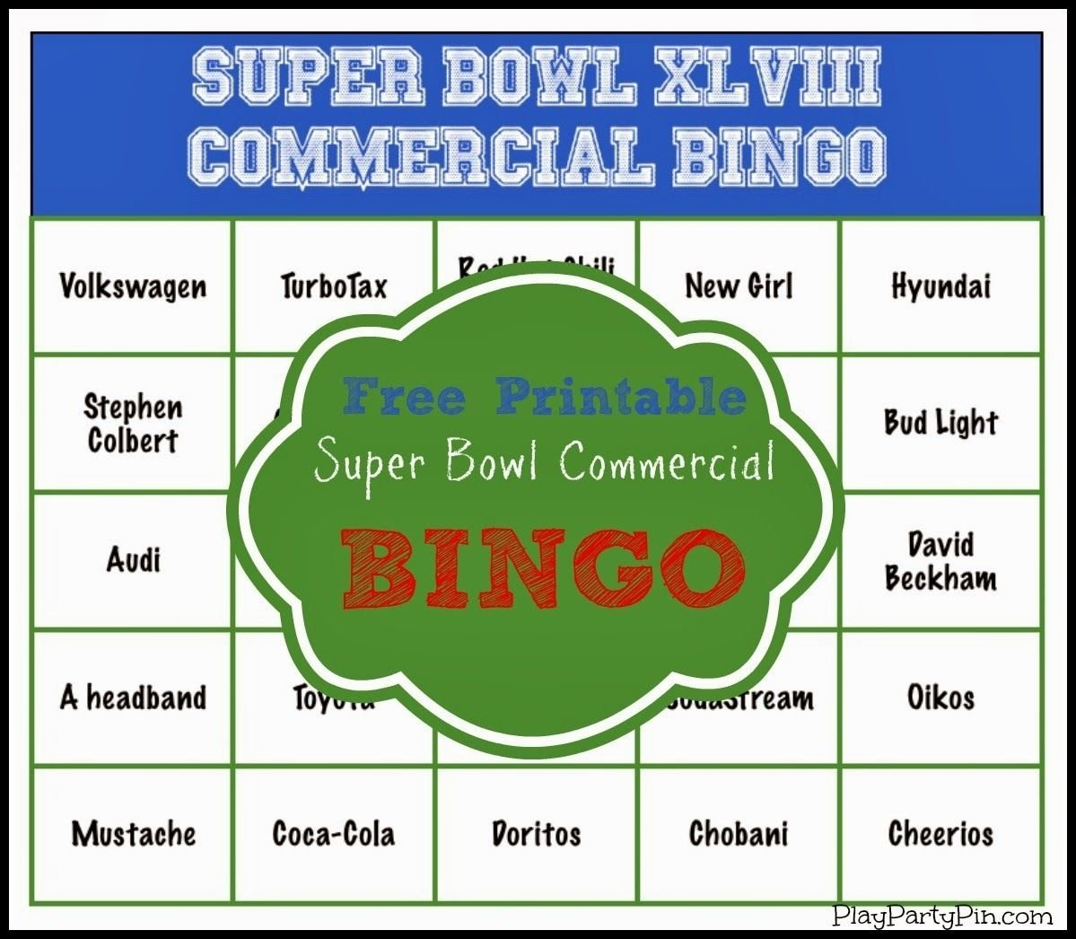 10 Perfect Super Bowl Party Games Ideas super bowl party game and prize ideas super bowl commercial bingo 1