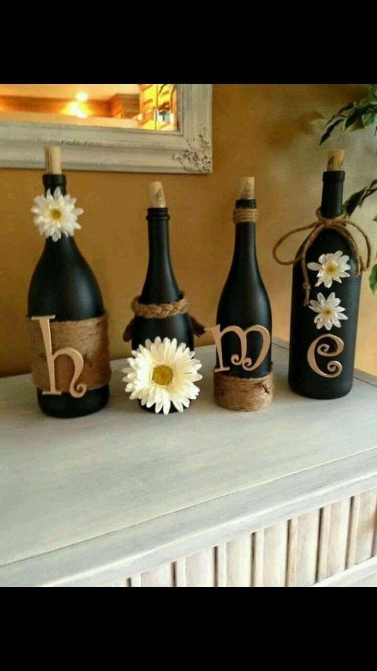 10 Most Popular Craft Ideas For Wine Bottles super cute diy idea wine bottles spray paint twine and letters 2 2020
