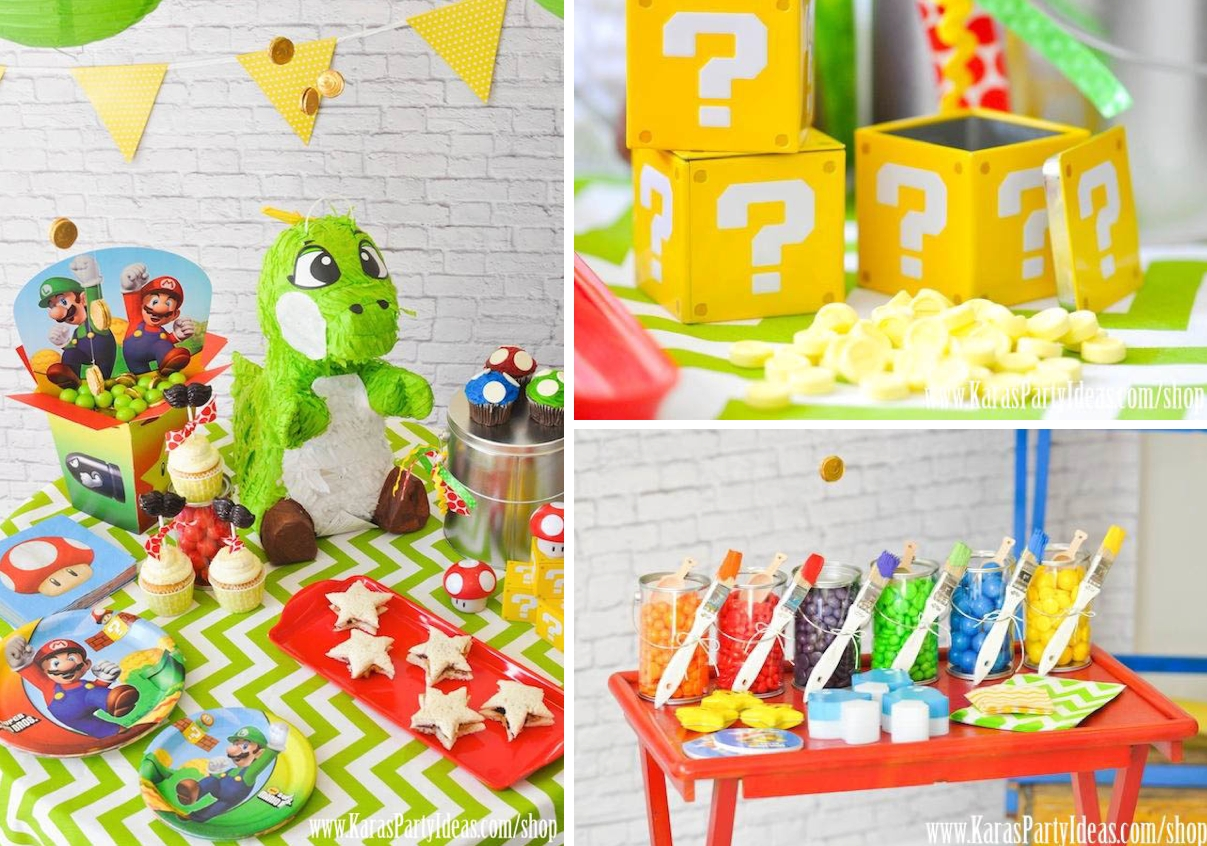super mario bros themed birthday party ideas via kara's party ideas