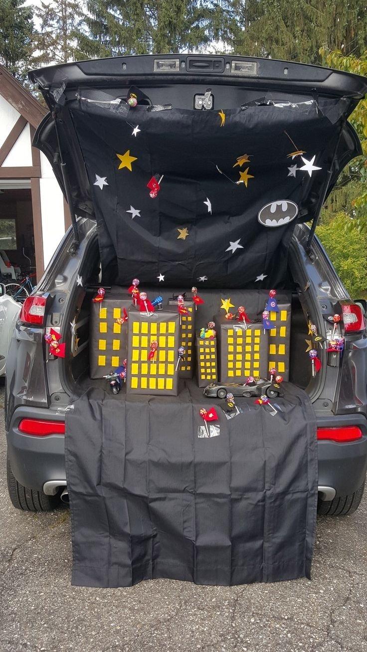 10 Stylish Trunk Or Treat Decorating Ideas For Trucks superhero trunk or treat batman toys wonder woman spiderman 1 2021