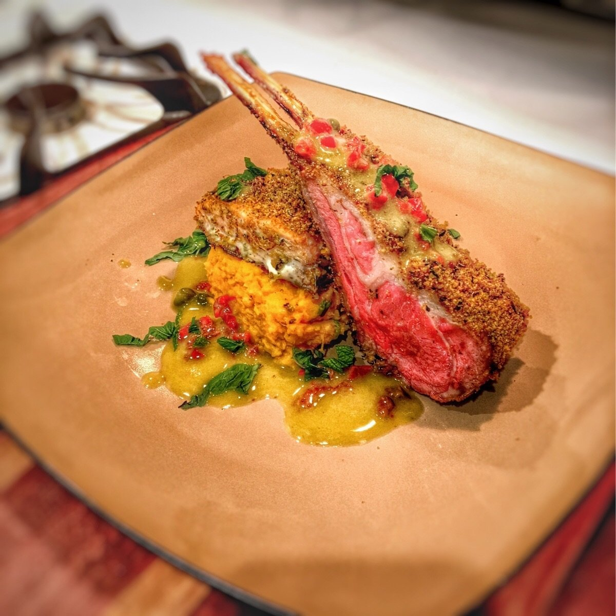 10 Trendy Surf And Turf Menu Ideas surf and turf mint crusted lamb racks and salmon over sweet potato 2020