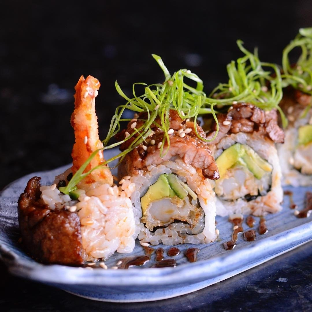 10 Trendy Surf And Turf Menu Ideas surf n turf roll a shrimp tempura and avocado roll topped off with 2020