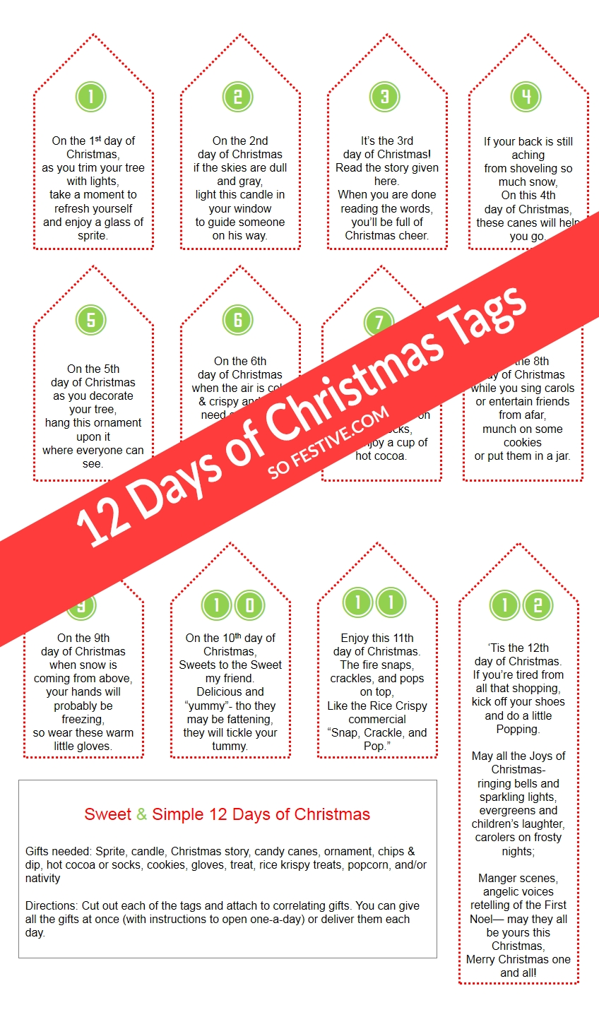 10 Spectacular 12 Days Of Christmas Gifts Ideas sweet simple 12 days of christmas printables so festive 1