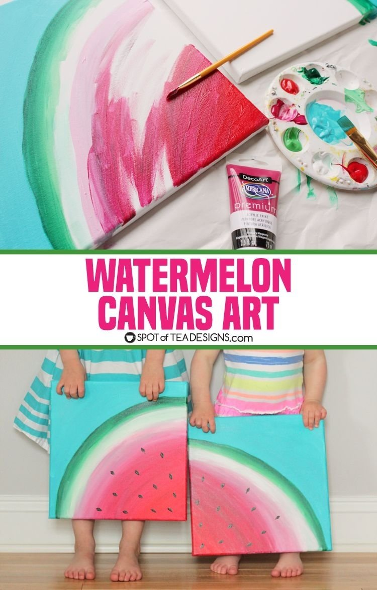 sweet summer watermelon canvas art | canvases, paintings and craft