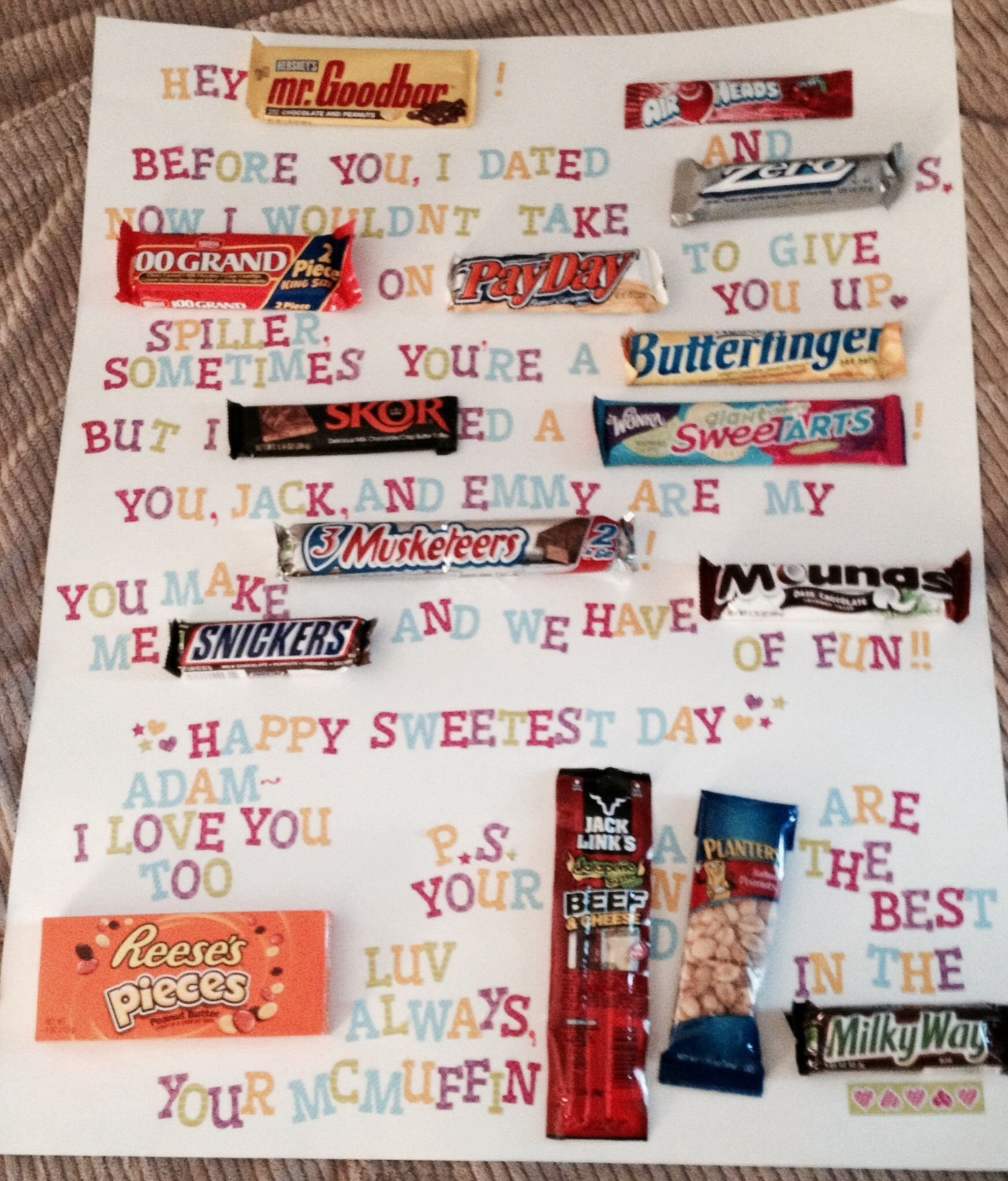 10 Attractive Sweetest Day Gift Ideas Boyfriend sweetest day candy gram for my boyfriend lovenote valentinesday 1 2020
