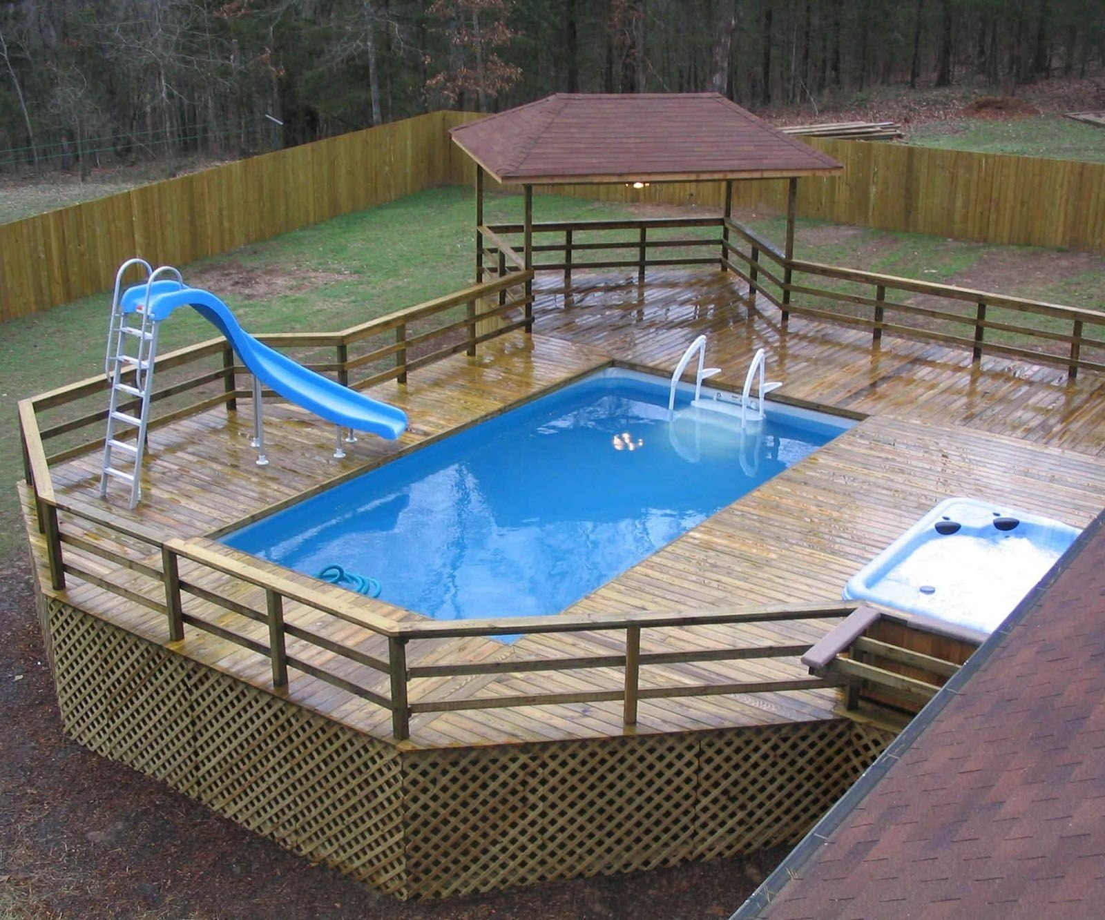 10 Pretty Above Ground Pool Deck Ideas Pictures swiming pools above ground pool deck design with pool spa also pool 1