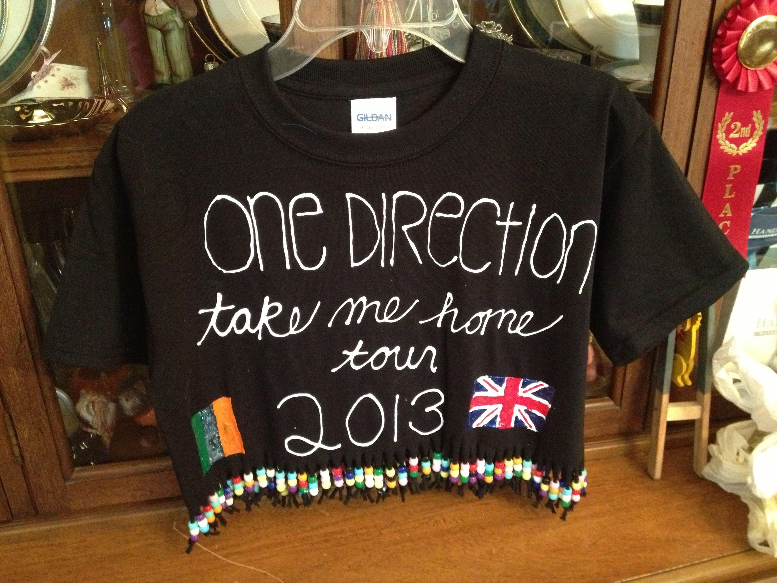 10 Elegant One Direction Shirt Ideas For Concert t shirt homemade with beads for one direction concert 6 25 13 diy 2020