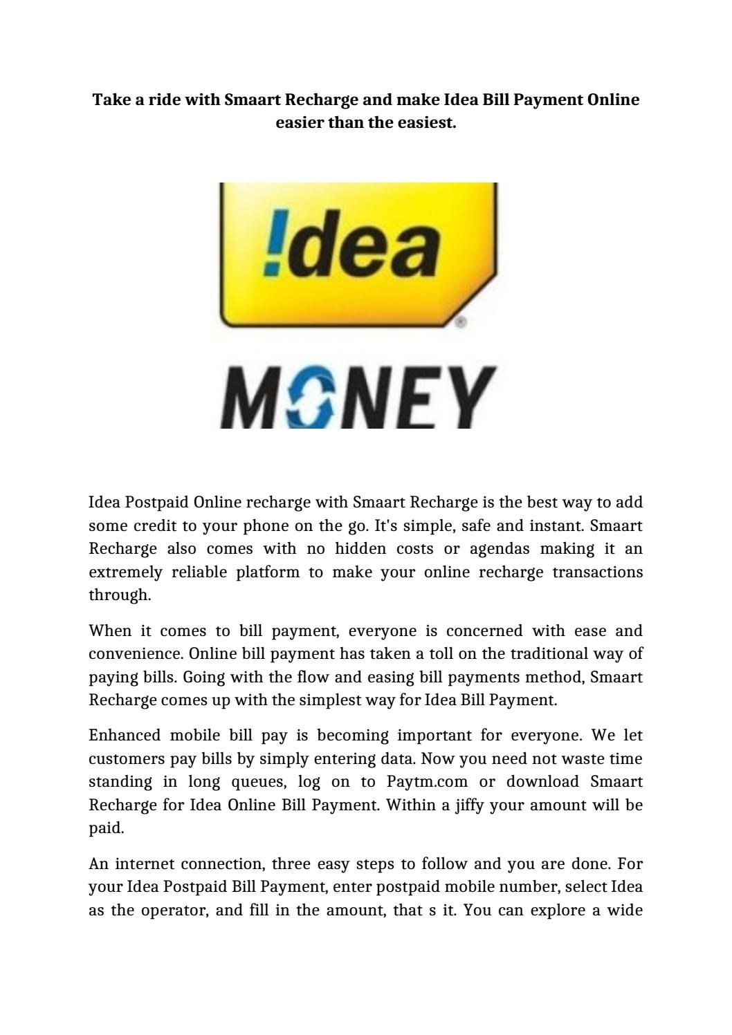 10 Fantastic Idea Postpaid Bill Payment Online take a ride with smaart recharge and make idea bill payment online 2020