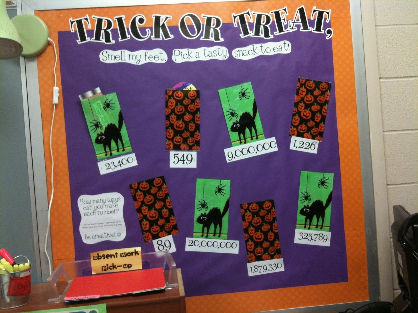 10 Pretty Halloween School Bulletin Board Ideas tales of frogs and cupcakes trick or treat math bulletin board 2020