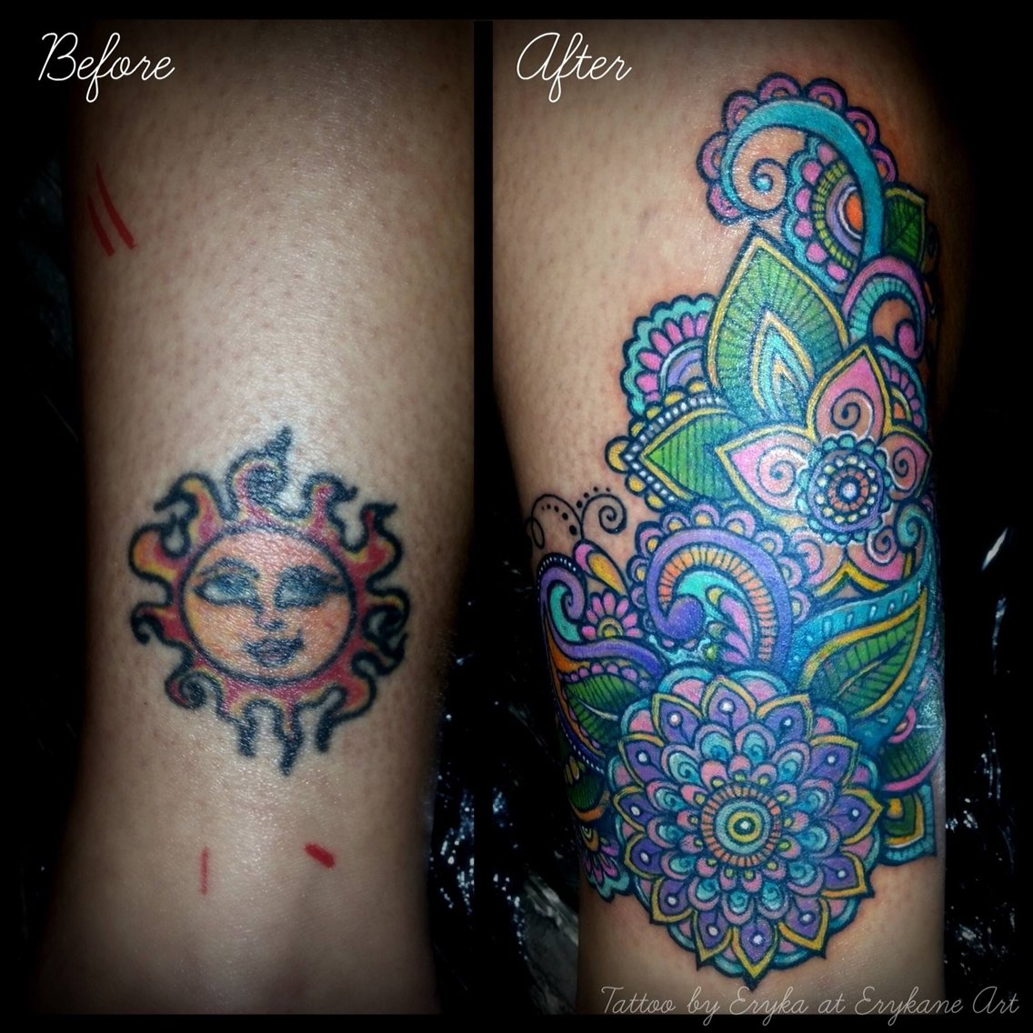 10 Unique Tattoo Cover Up Ideas For Work tattoo before after coverup love this the colors are beautiful 2020