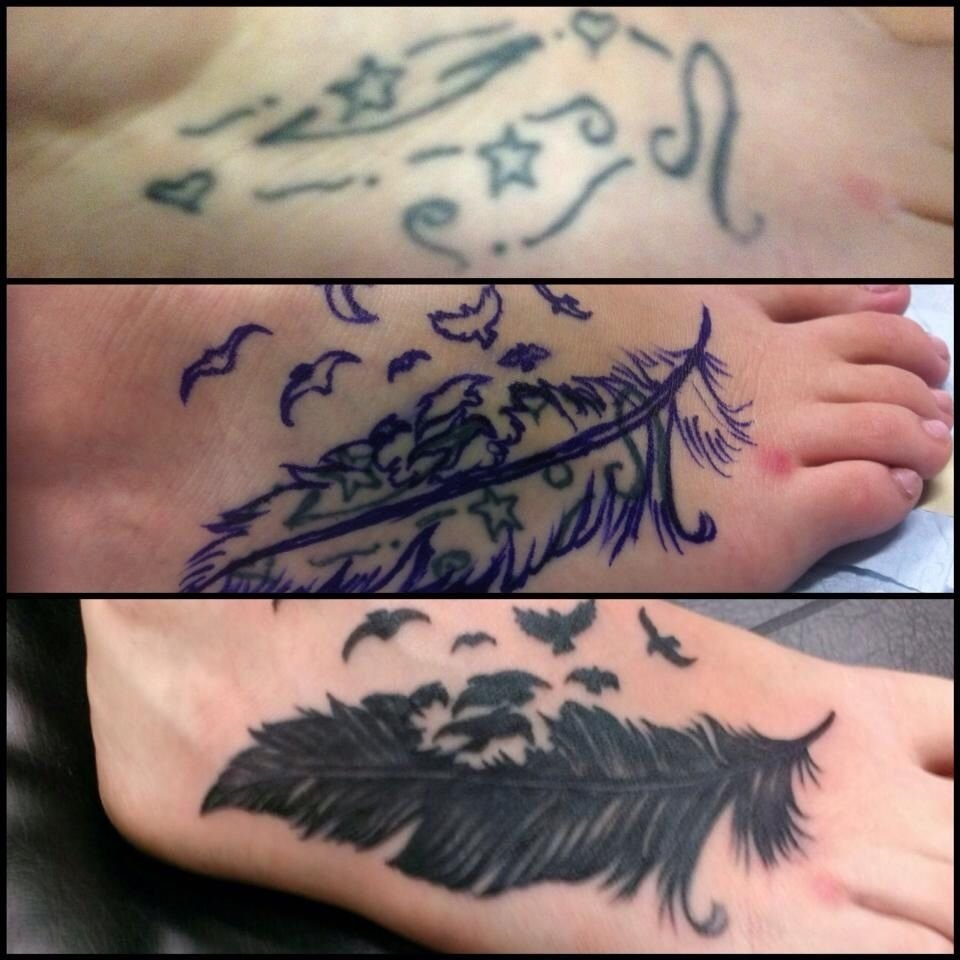 10 Cute Foot Tattoo Cover Up Ideas tattoojojo miller dynamic ink feather tattoo foot cover up 2021