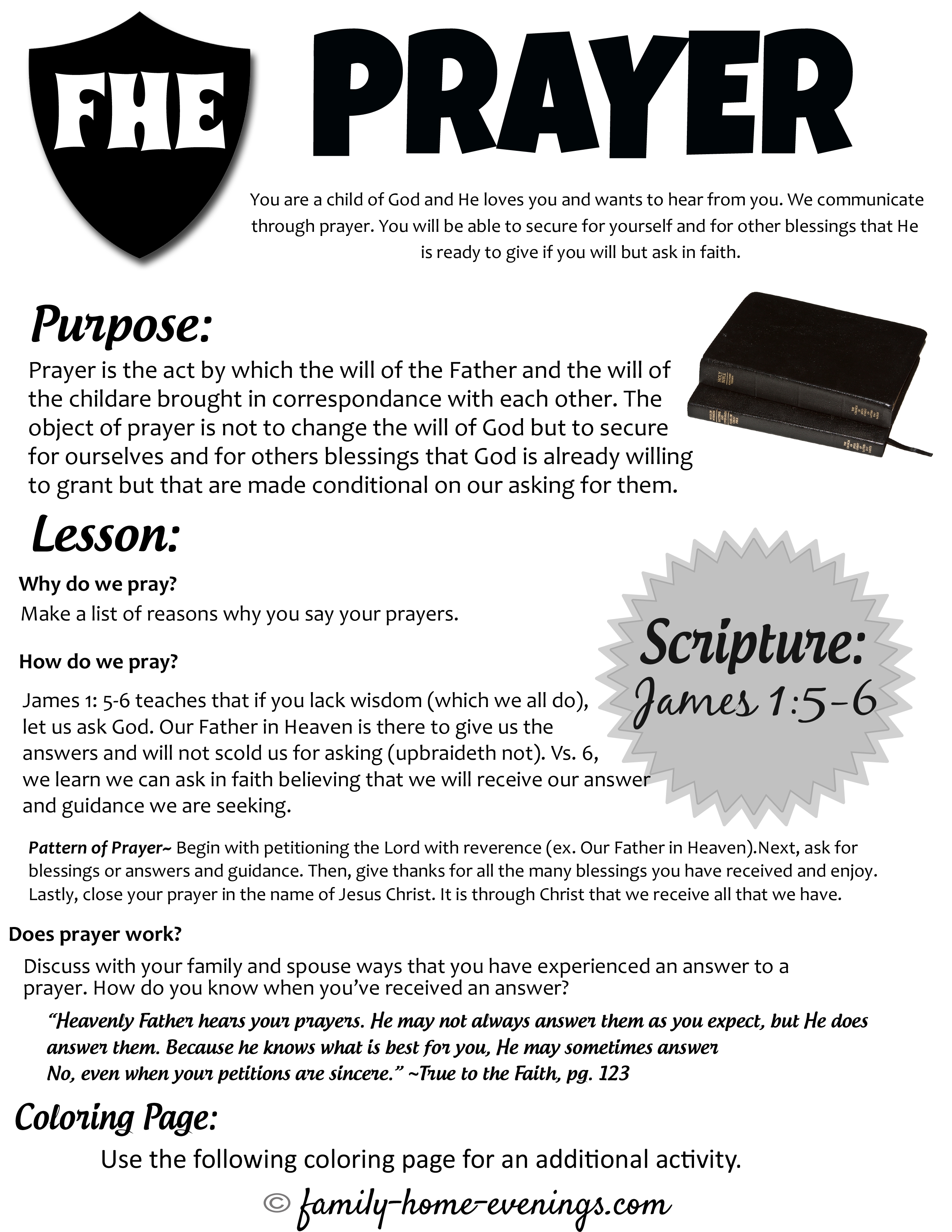 teach kids about prayer- family home evening lesson on learning how