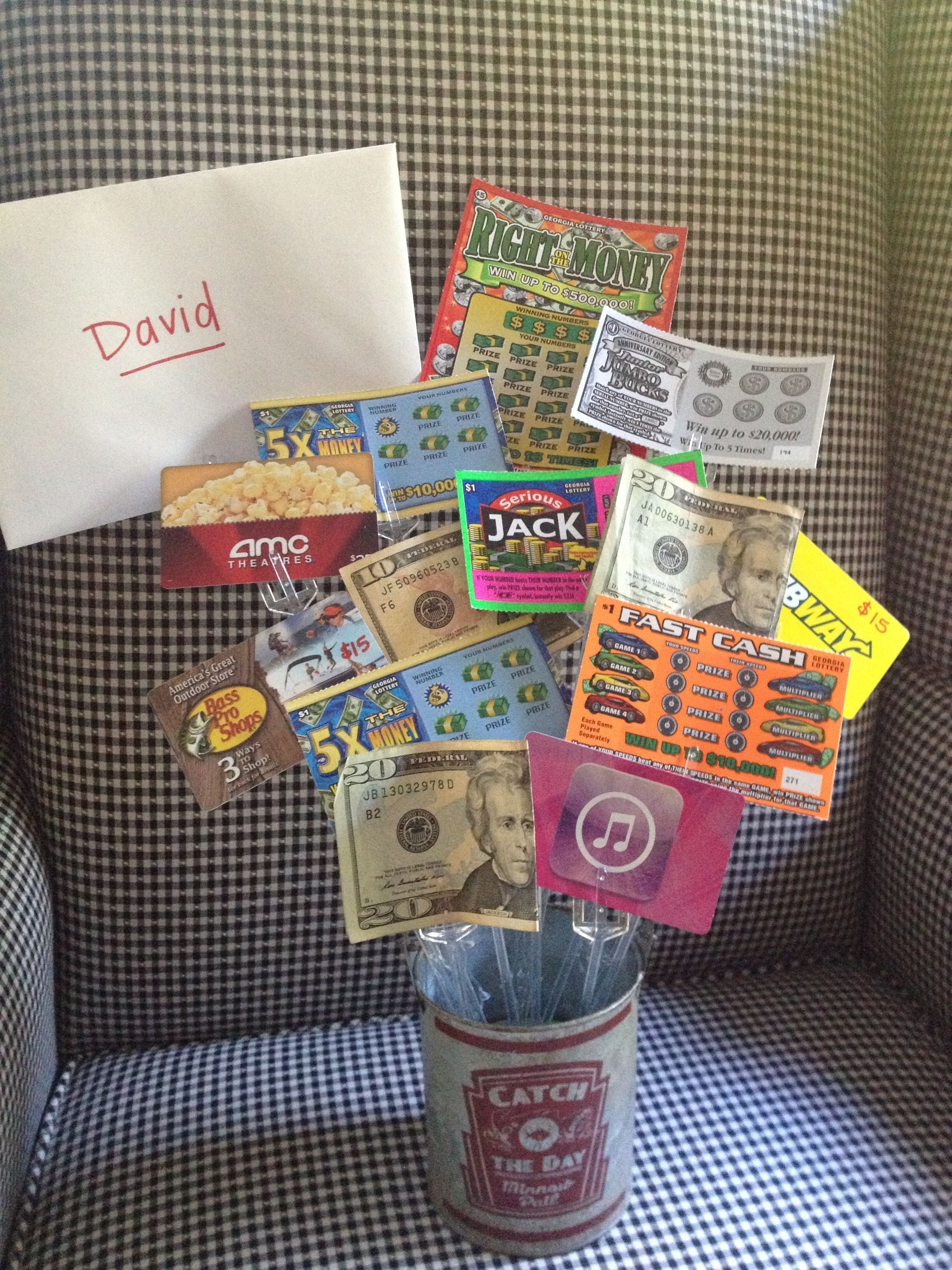 teen #boys birthday gift idea gift cards, lotto tickets and cash