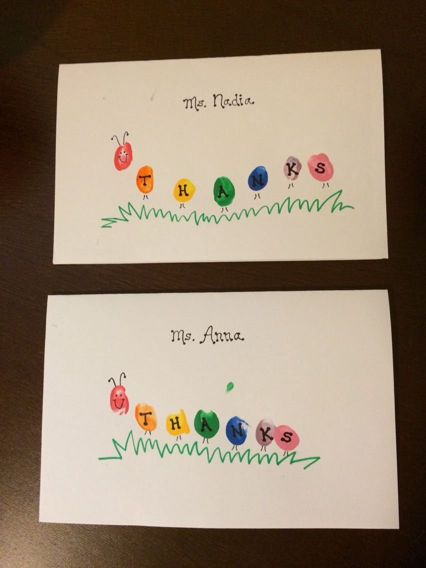 thank you cards for teacher- caterpillar fingerprints | teacher