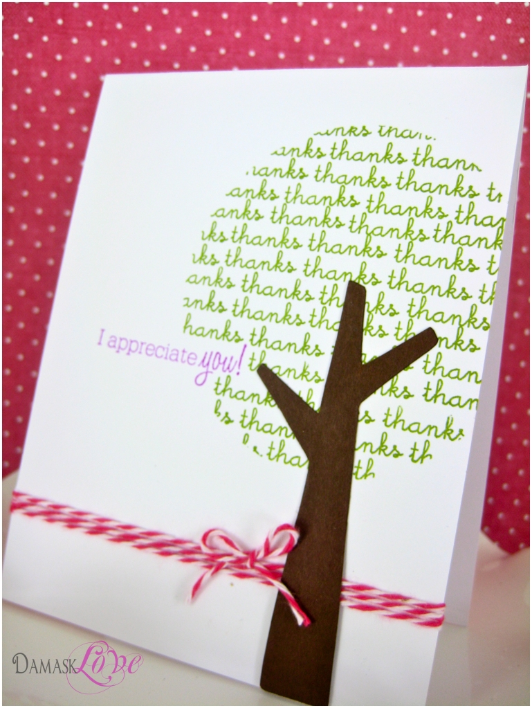 10 Attractive Cute Thank You Card Ideas thank you tree card damask love 2 2020