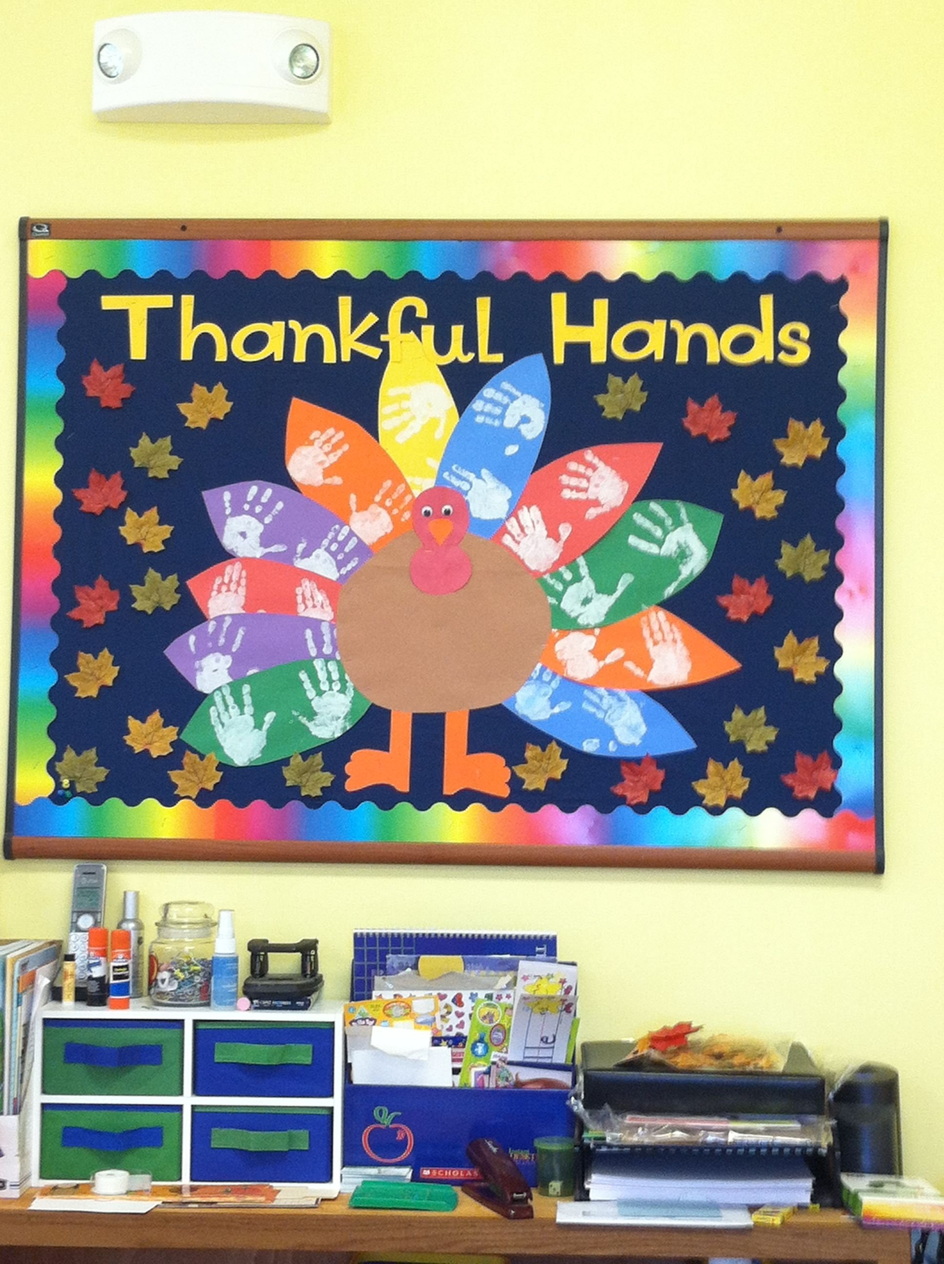 thanksgiving bulletin board - cms thankful notes on tail feathers