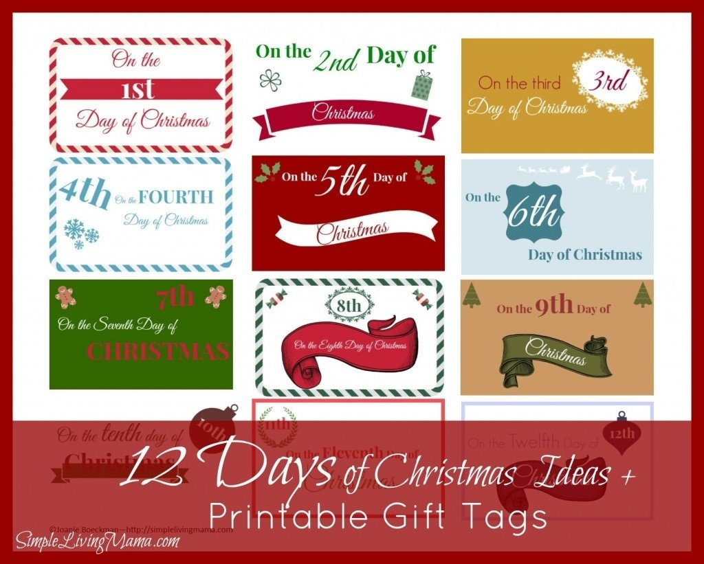 the 12 days of christmas ideas + printable gift tags | free