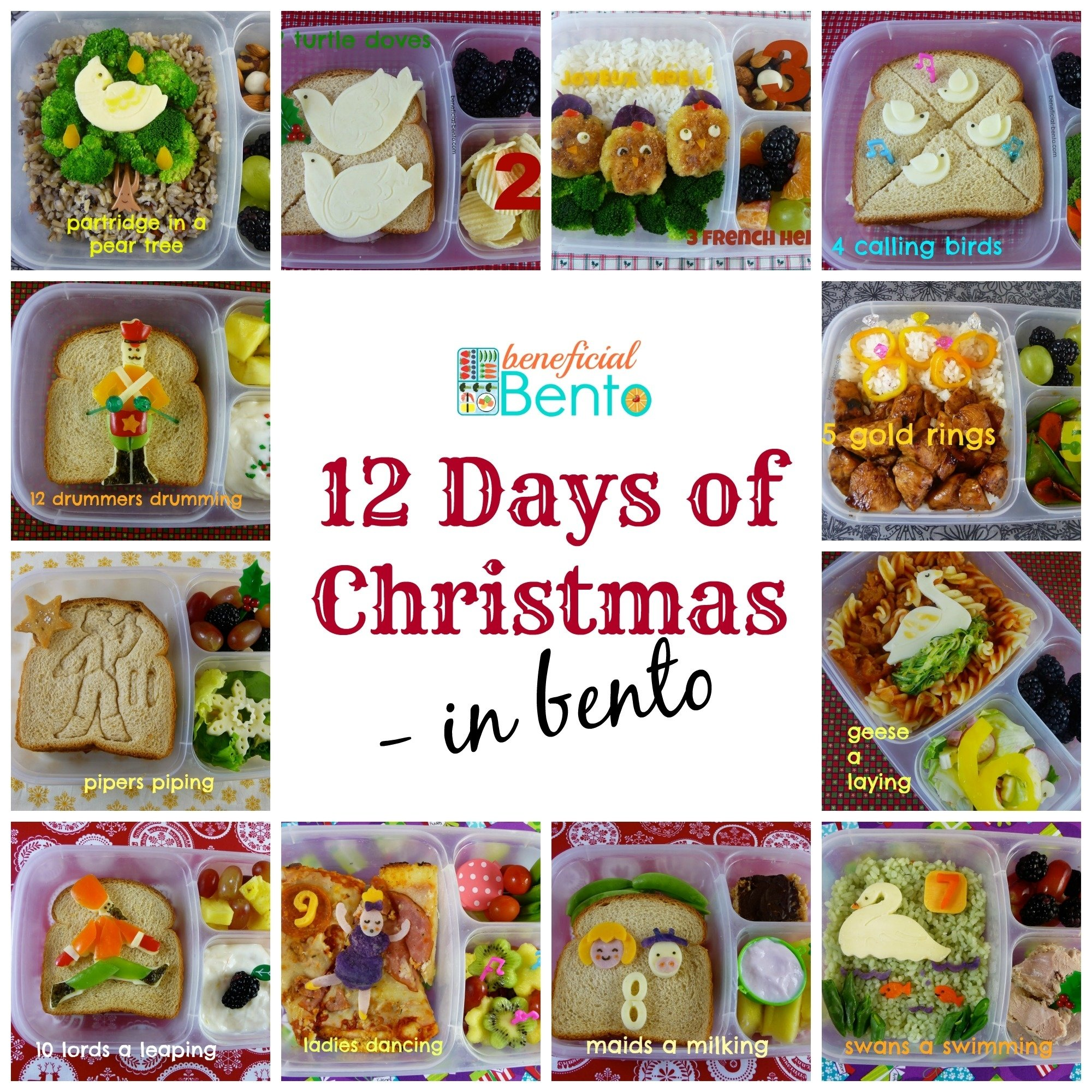 the 12 days of christmas in bento - beneficial bento