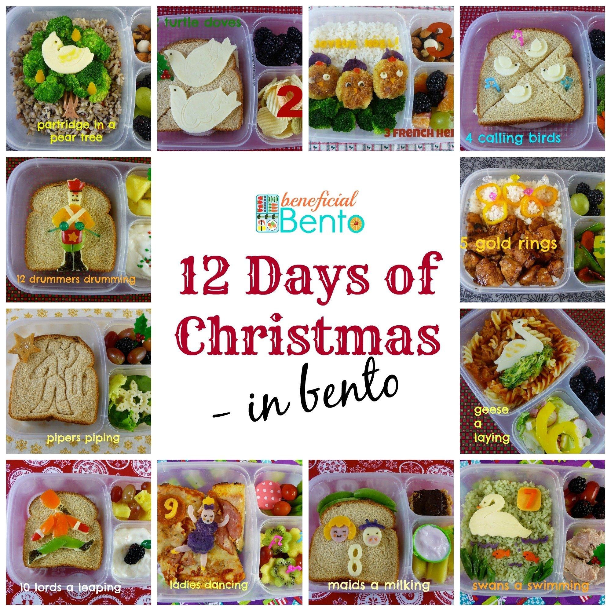 the 12 days of christmas in bento - beneficial bento