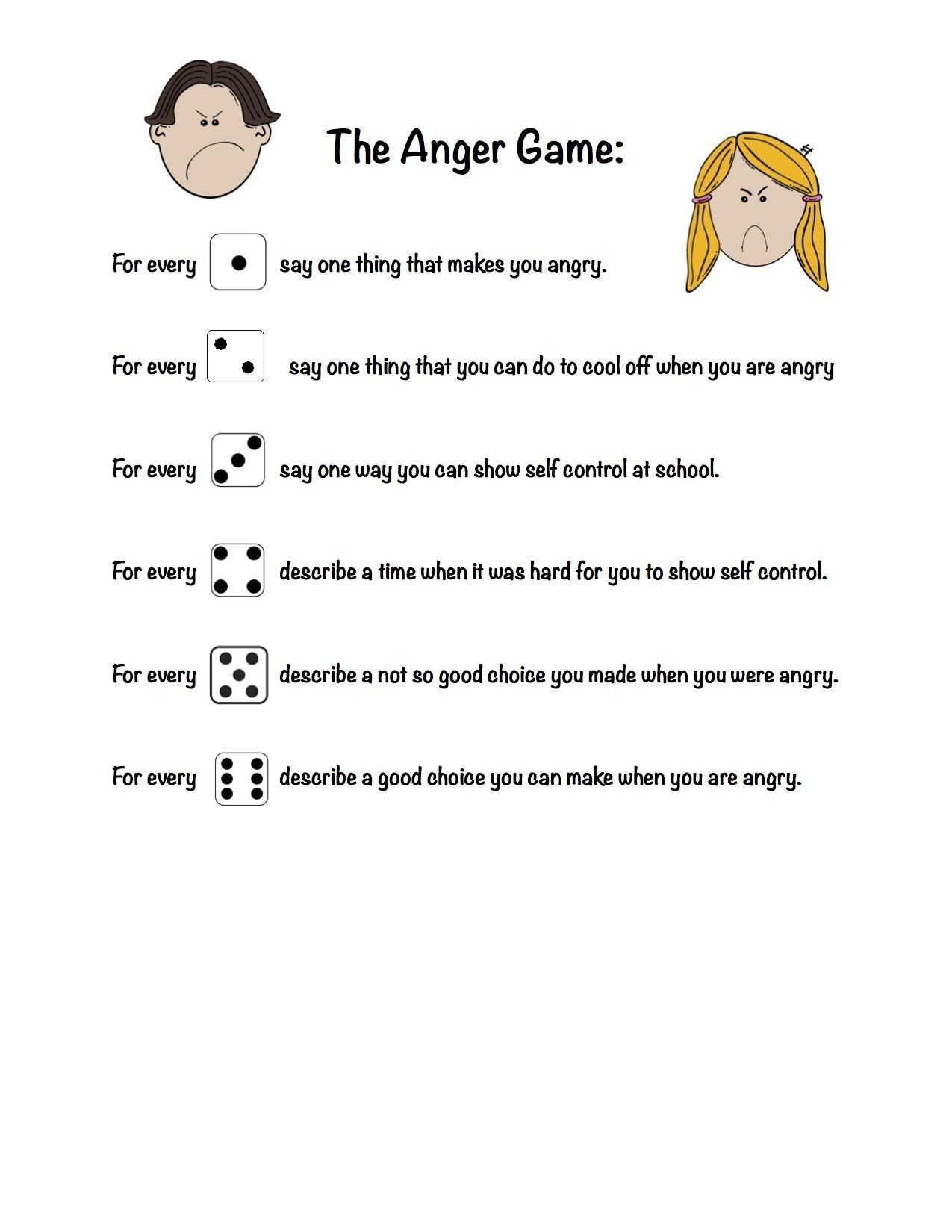 10 Elegant Group Therapy Ideas For Mental Health the anger game used with one dice and helpful for kids working on 2020