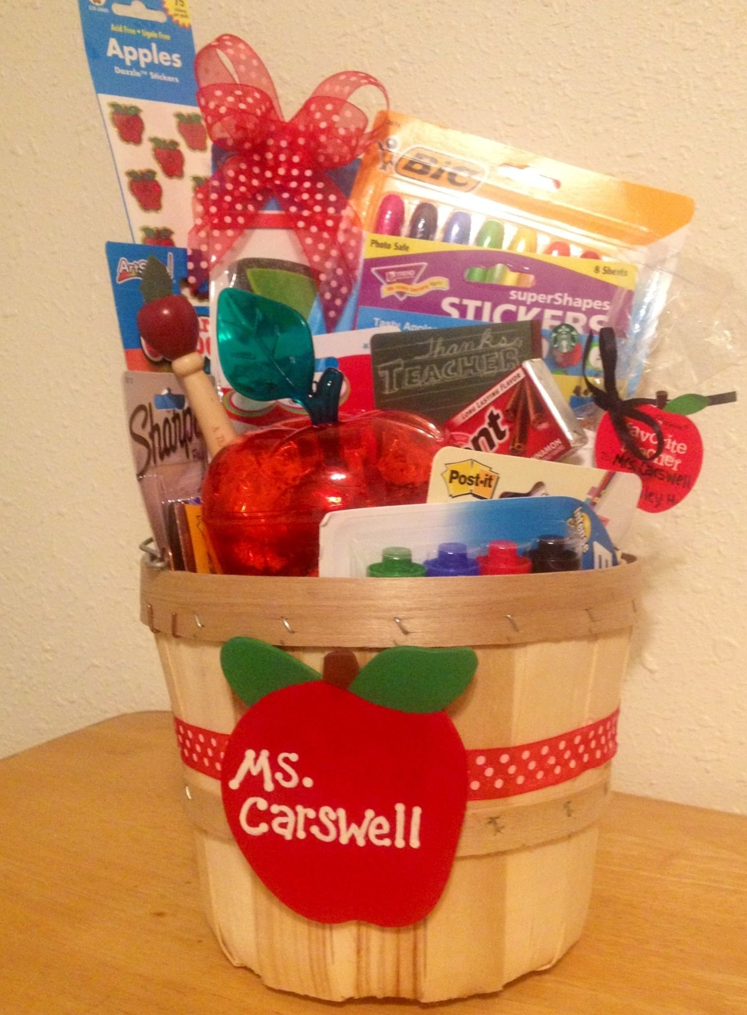 the best teacher gift! apple themed gift basket. we made this for