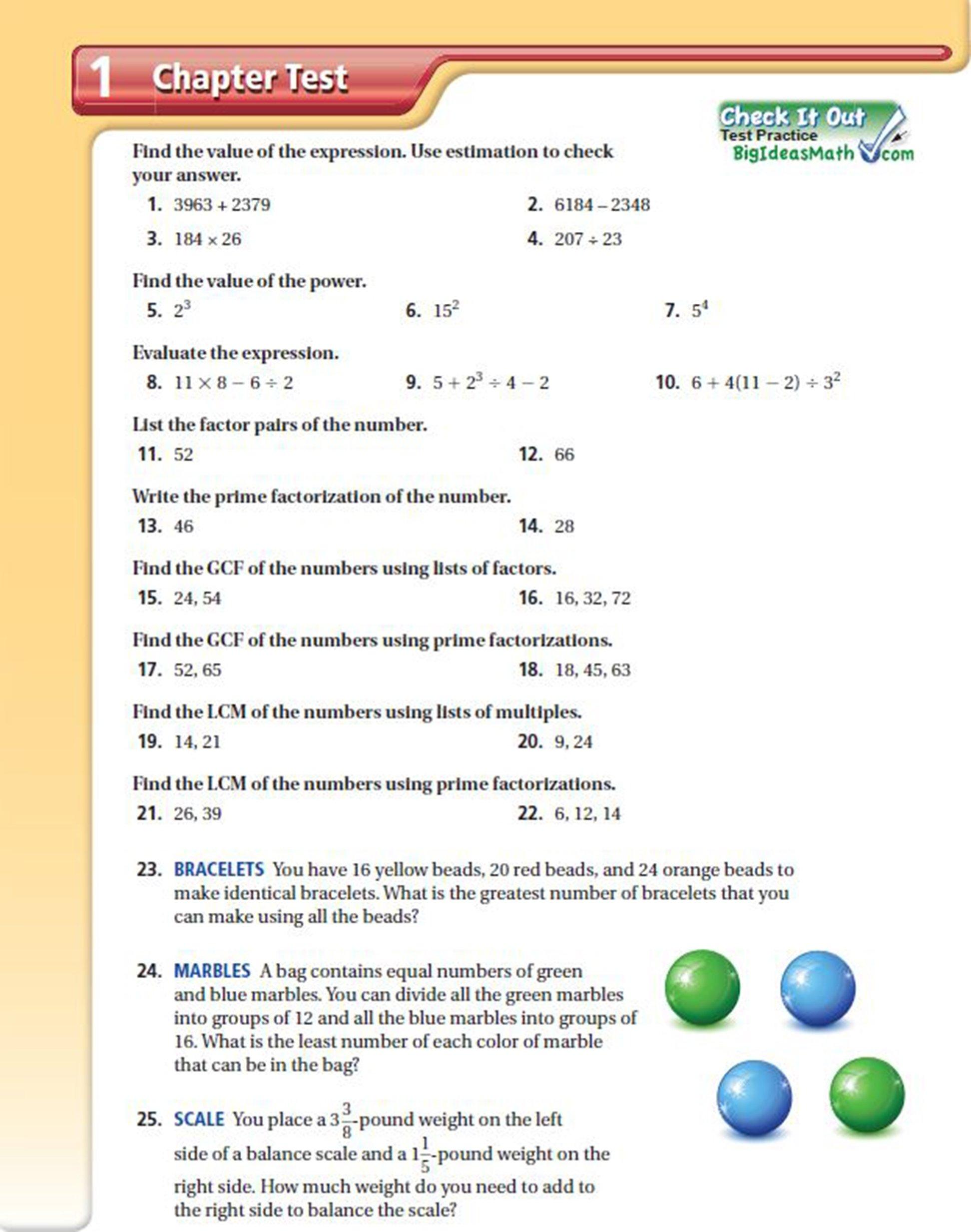 10 Fantastic Big Ideas Math Online Textbook the chapter test big ideas math 4 2021