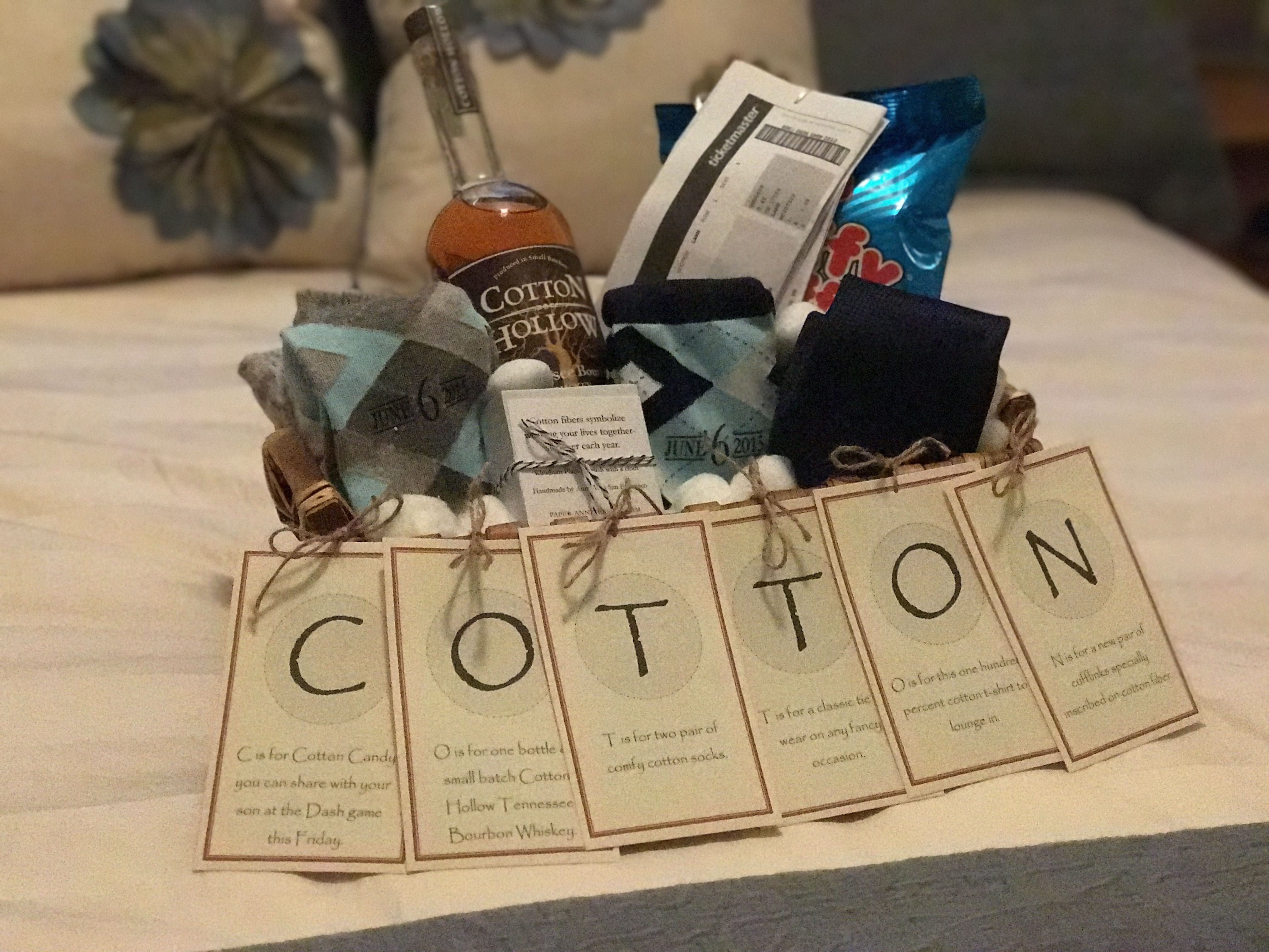 """the """"cotton"""" anniversary - gift for him. 