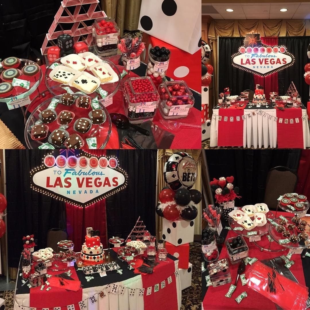 10 Attractive Birthday Party Ideas Las Vegas the dessert table set up for a casino themed 30th birthday bom 2020