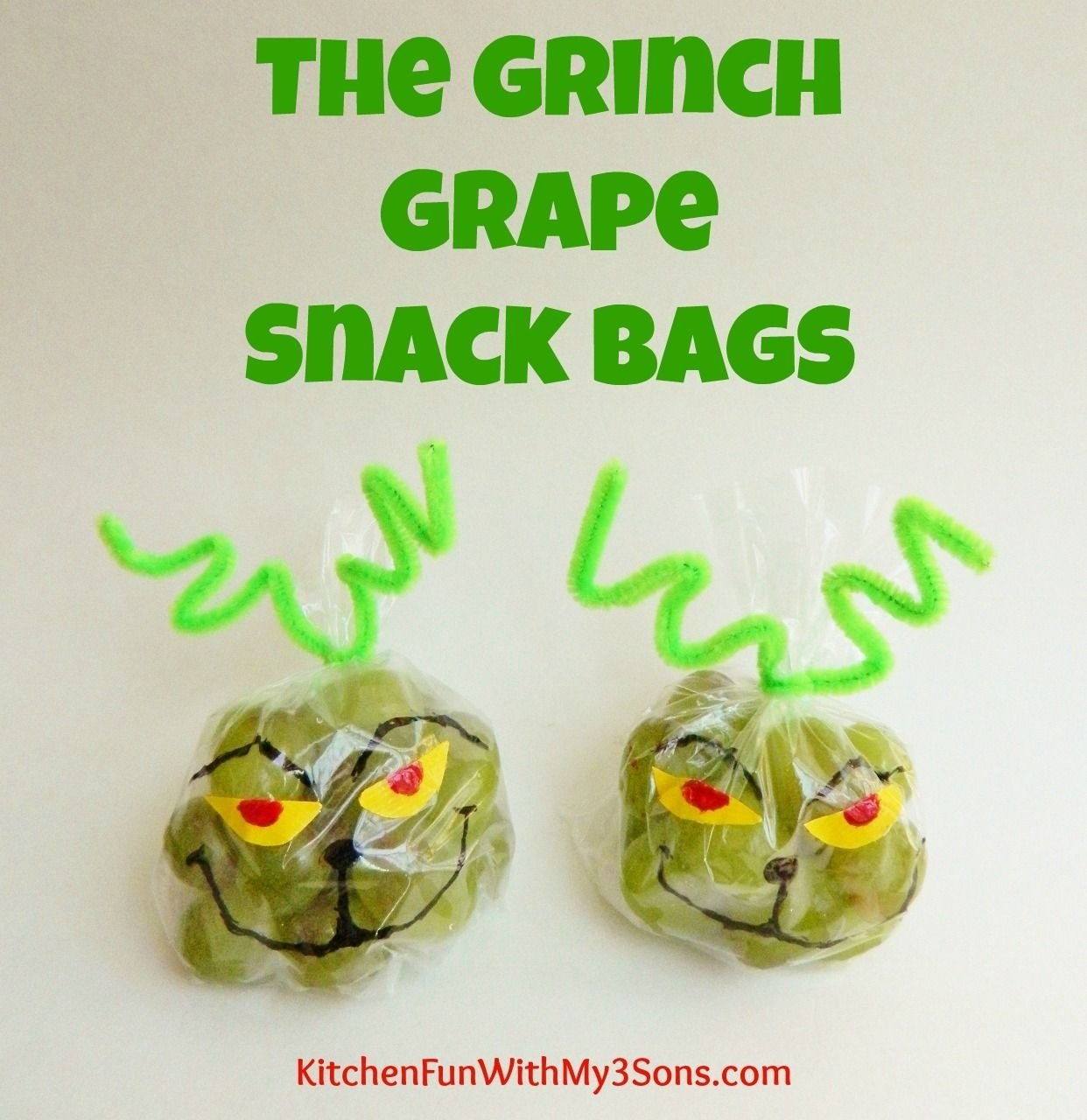 10 Perfect Cute Snack Ideas For Preschoolers the grinch grape snack bags for class parties at school from 2021