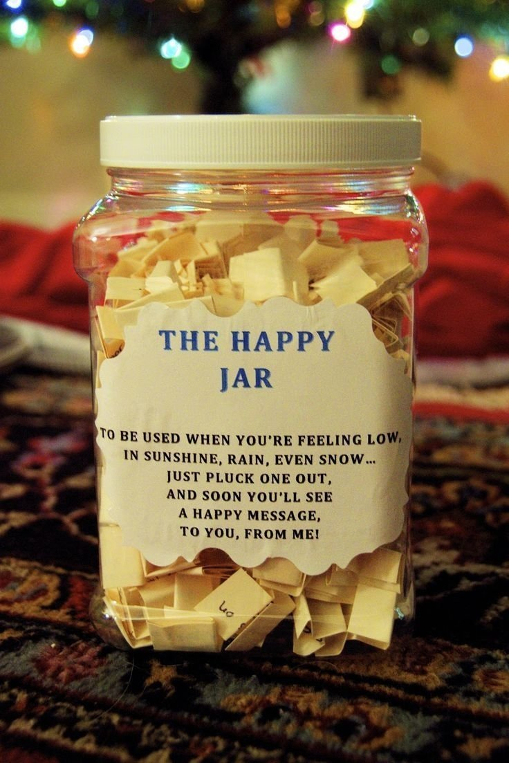 the happy jar. a homemade jar of individual sentiments on paper